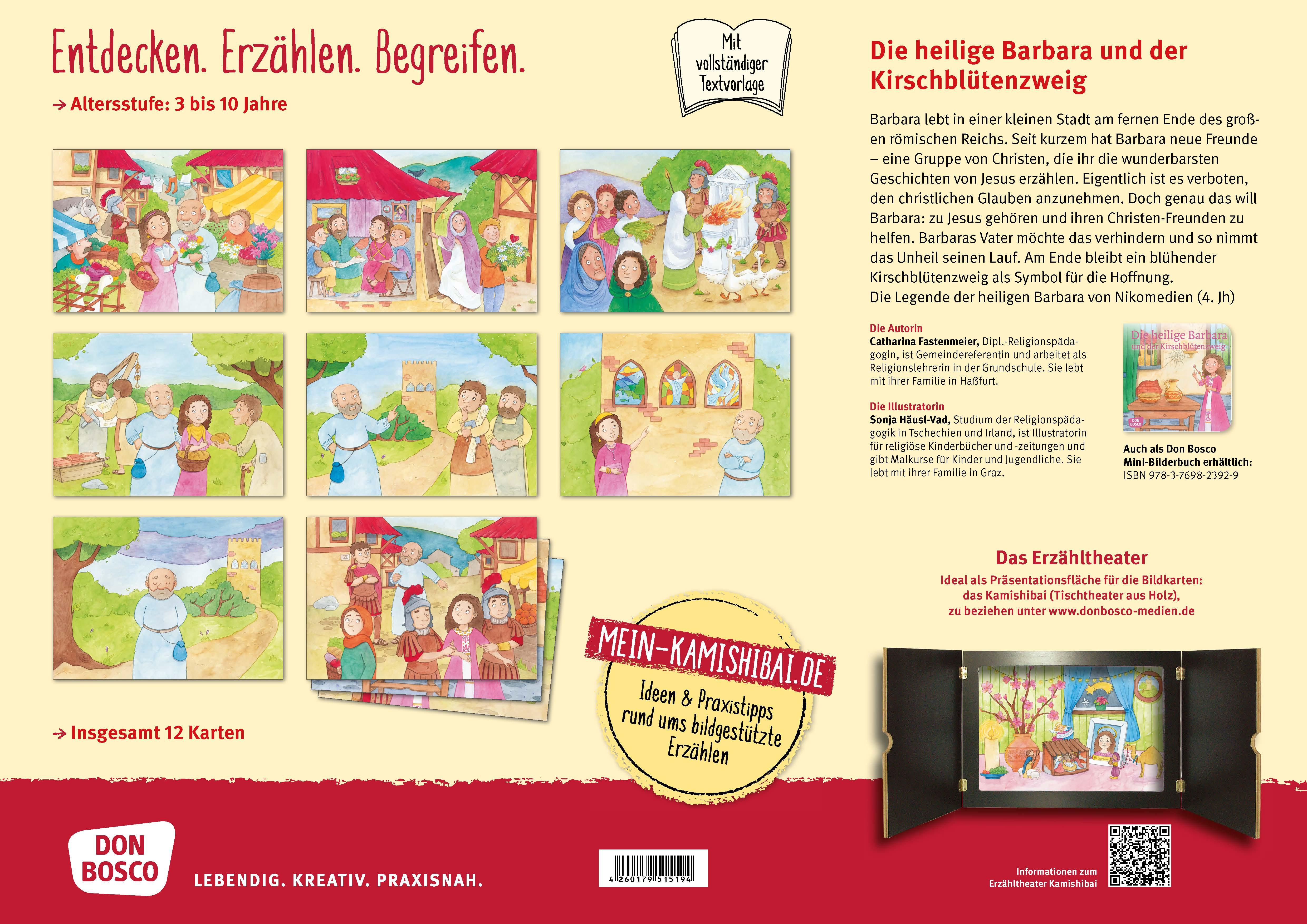 Innenansicht zu Die heilige Barbara und der Kirschblütenzweig. Kamishibai Bildkartenset.
