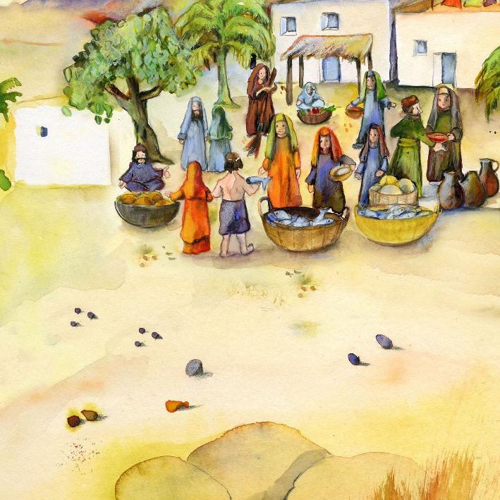 Innenansicht zu Jesus in der Wüste. Mini-Bilderbuch.