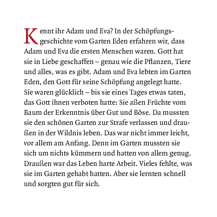 Innenansicht zu Kain und Abel. Mini-Bilderbuch.