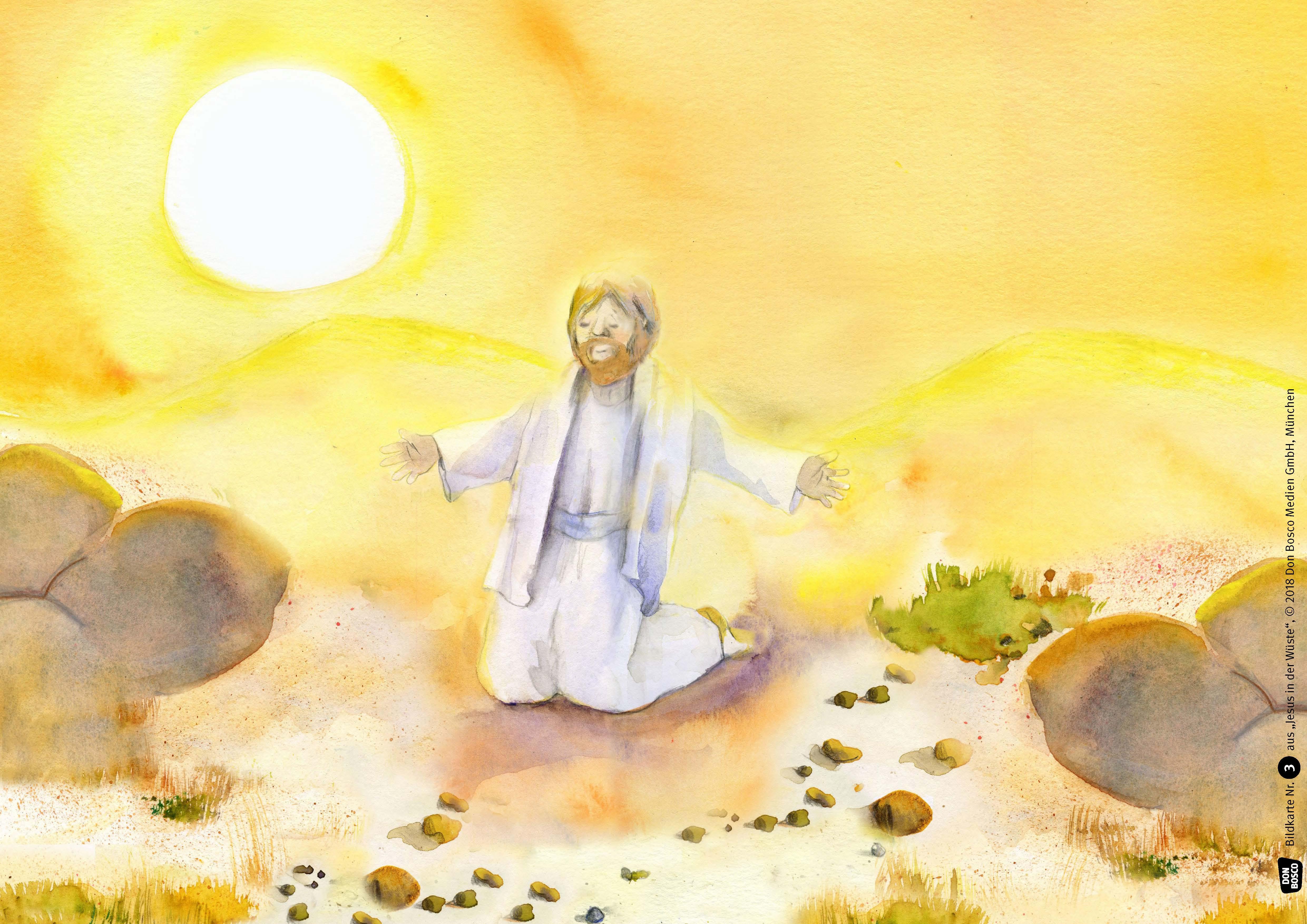 Innenansicht zu Jesus in der Wüste. Kamishibai Bildkartenset.