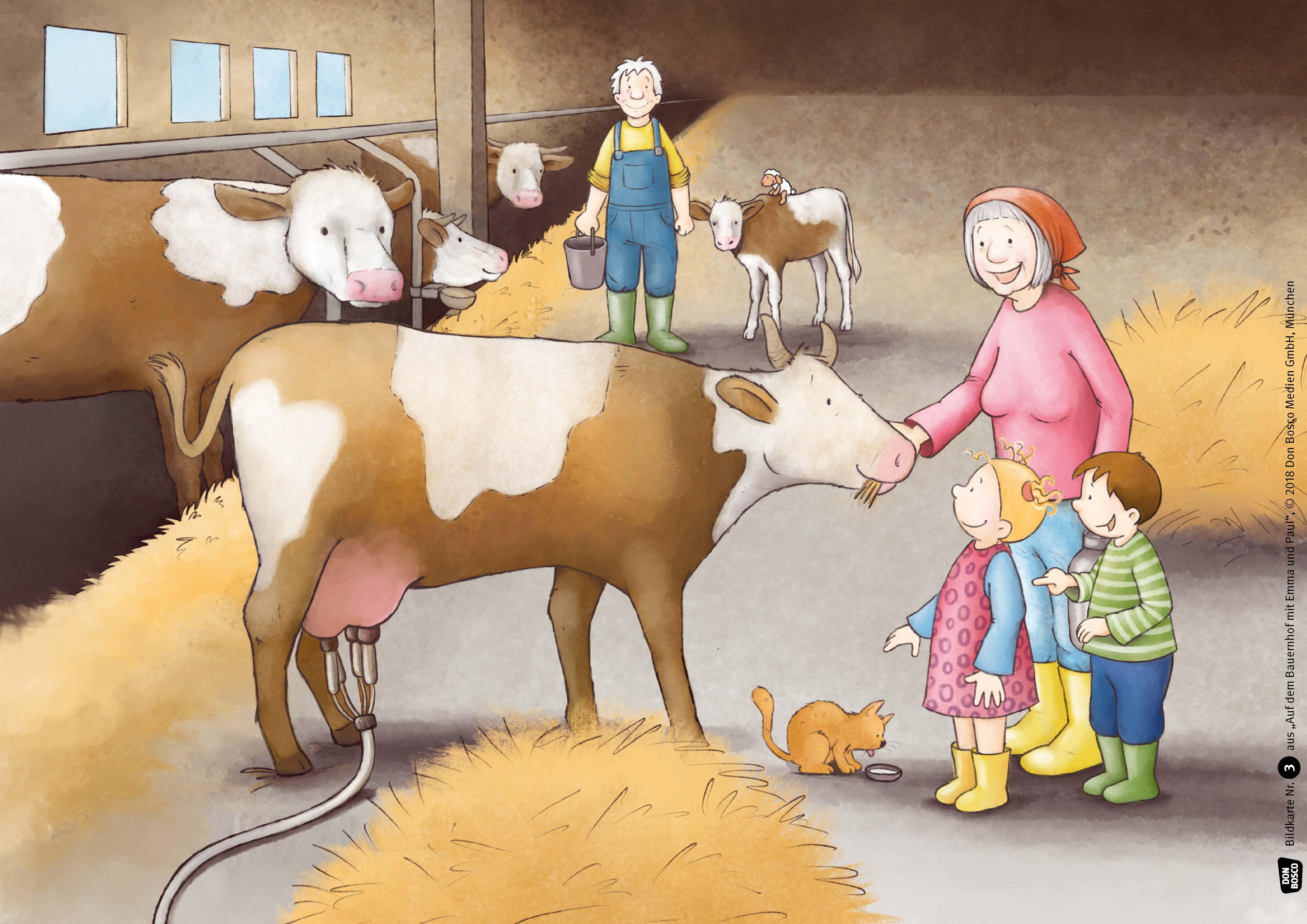 Innenansicht zu Auf dem Bauernhof mit Emma und Paul. Kamishibai Bildkartenset.
