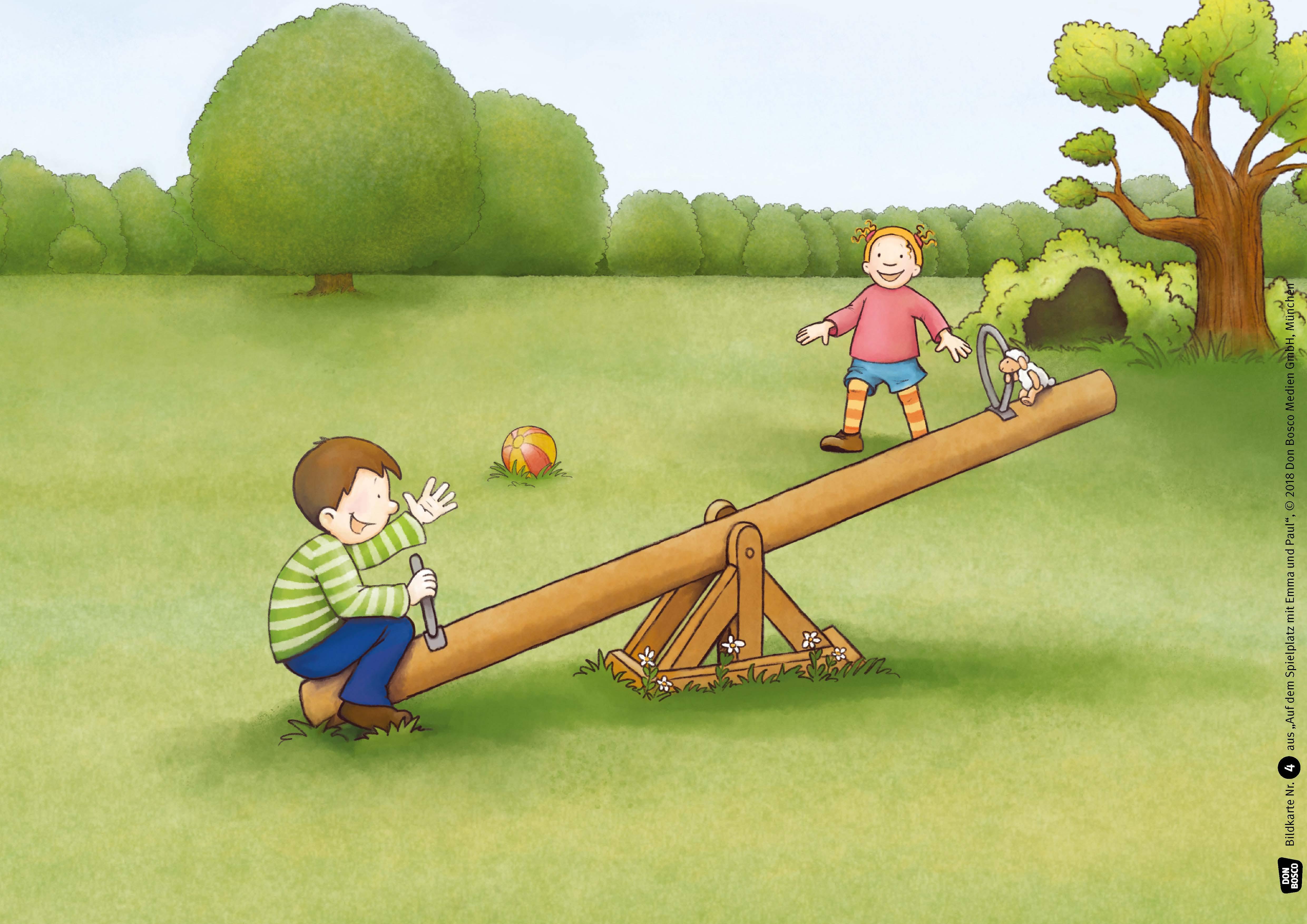 Innenansicht zu Auf dem Spielplatz mit Emma und Paul. Kamishibai Bildkartenset.