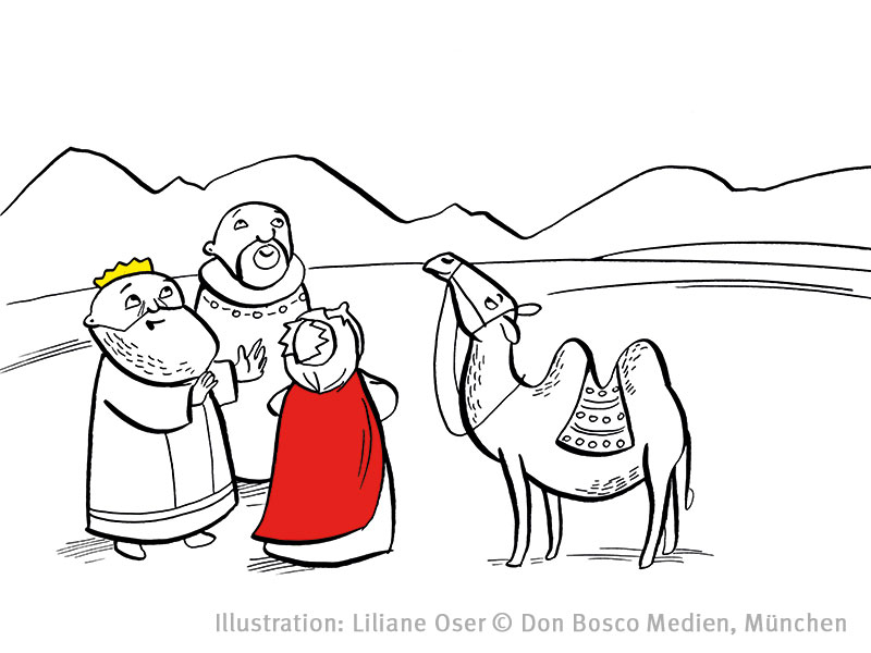 Ratsel Und Ausmalbild Was Sehen Die Drei Weisen Aus Dem Morgenland Basteln Im Kindergarten Bildungsbereiche Kindergarten Don Bosco Verlag