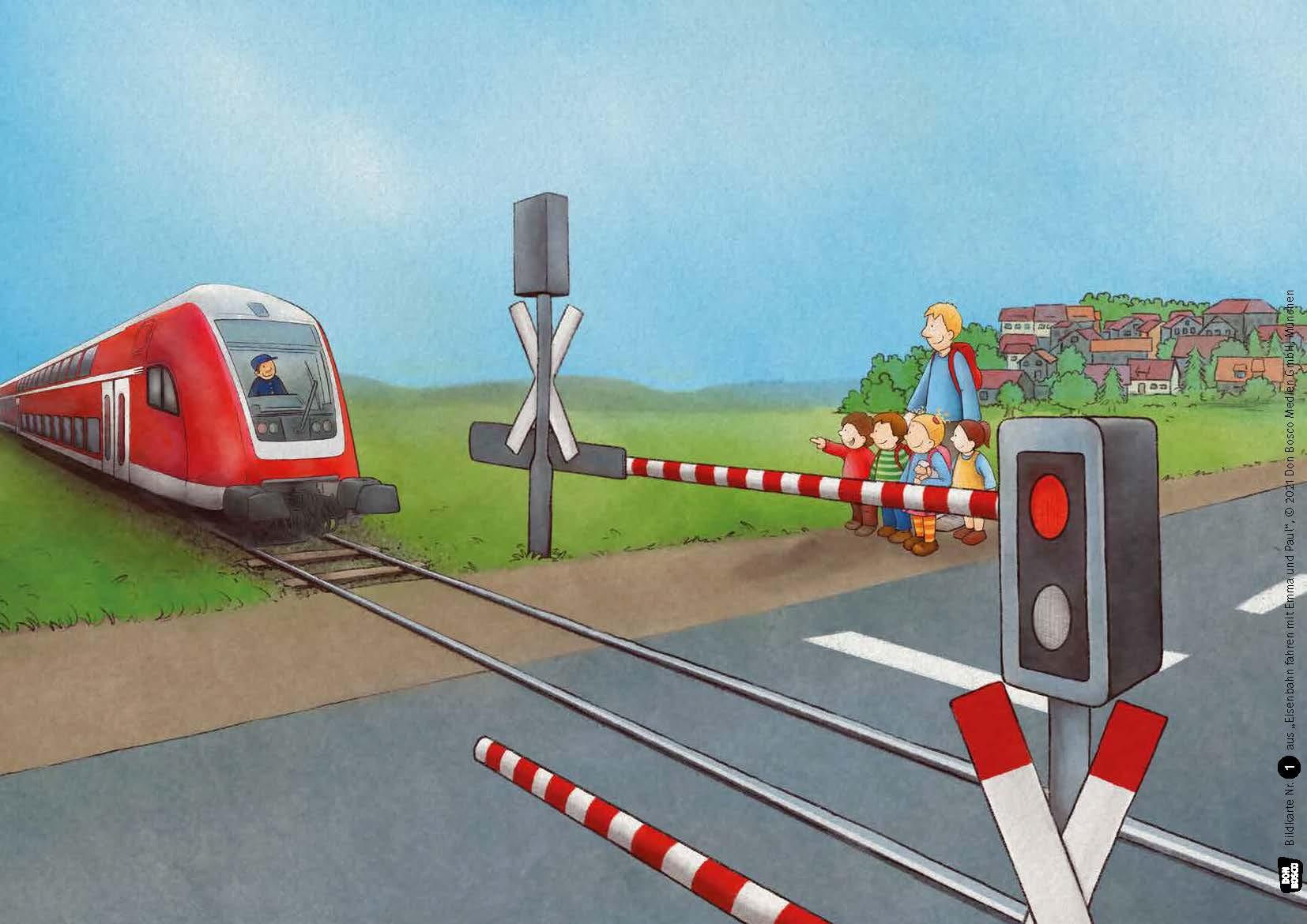 Innenansicht zu Eisenbahn fahren mit Emma und Paul. Kamishibai Bildkartenset.