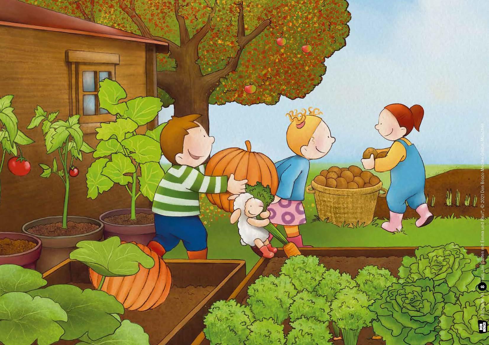 Innenansicht zu Im Garten mit Emma und Paul. Kamishibai Bildkartenset.