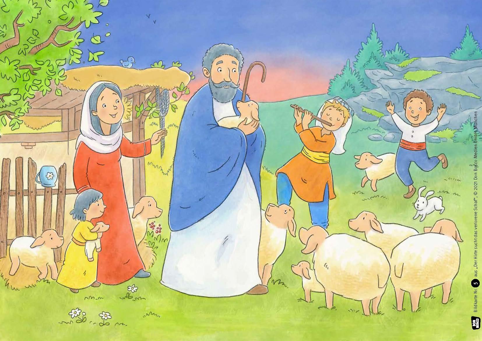 Innenansicht zu Der Hirte sucht das verlorene Schaf. Kamishibai Bildkartenset.