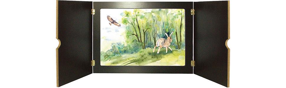 Innenansicht zu Tiere und Pflanzen in der Hecke. Kamishibai Bildkartenset.