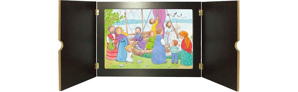 Innenansicht zu Jesus und der große Sturm. Kamishibai Bildkartenset