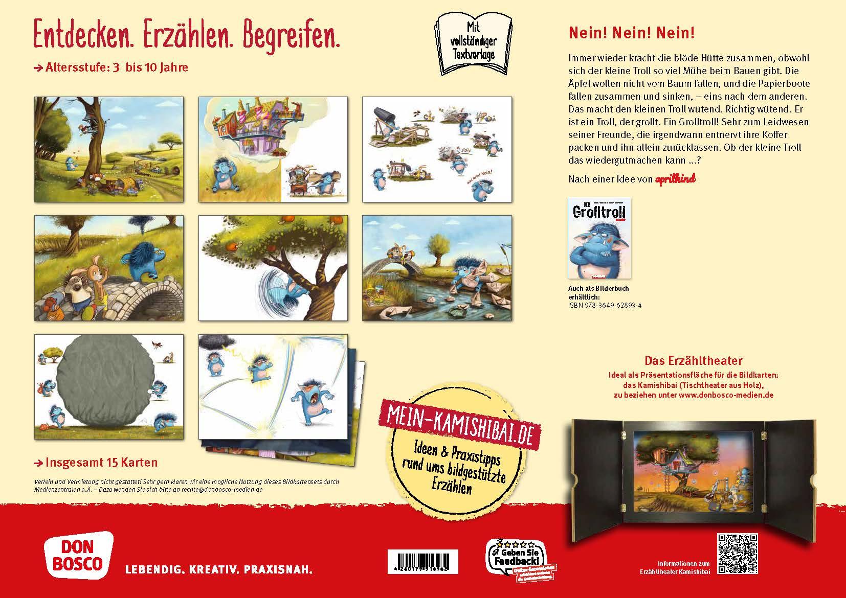 Innenansicht zu Der Grolltroll by aprilkind. Kamishibai Bildkartenset.