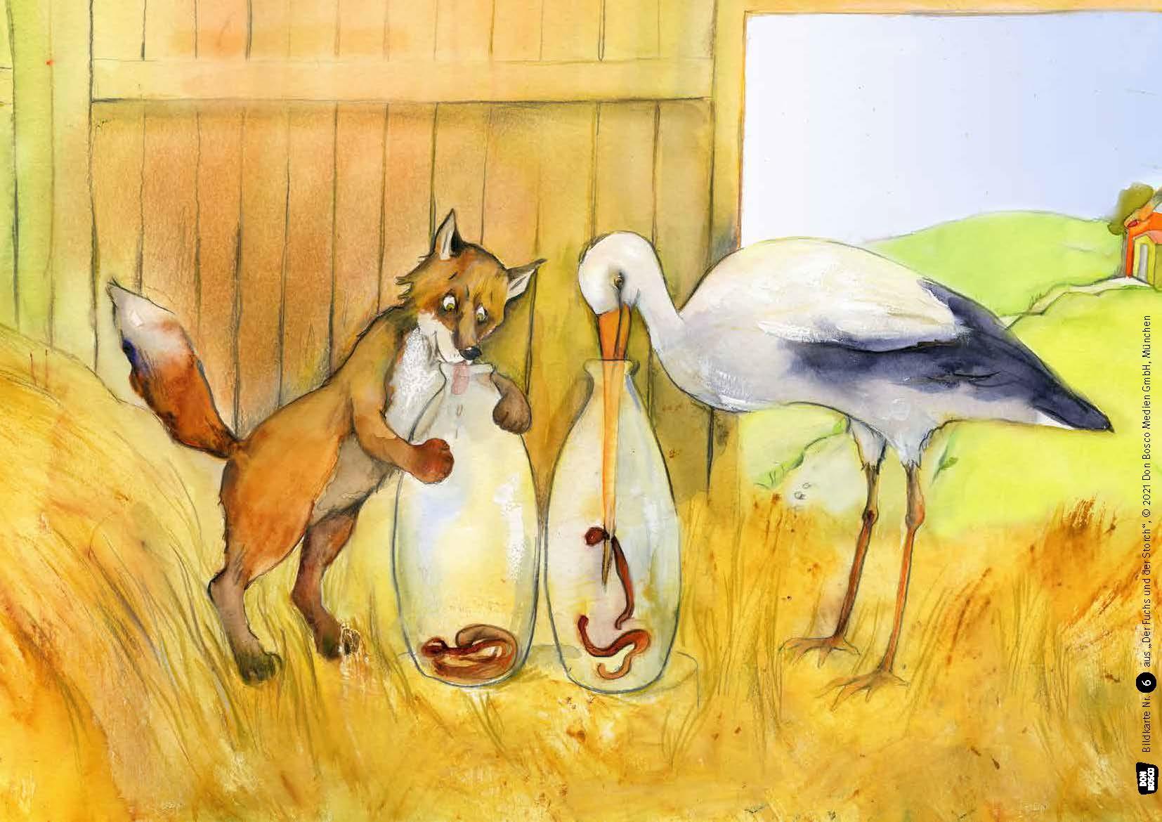 Innenansicht zu Der Fuchs und der Storch. Eine Fabel von Äsop. Kamishibai Bildkartenset.