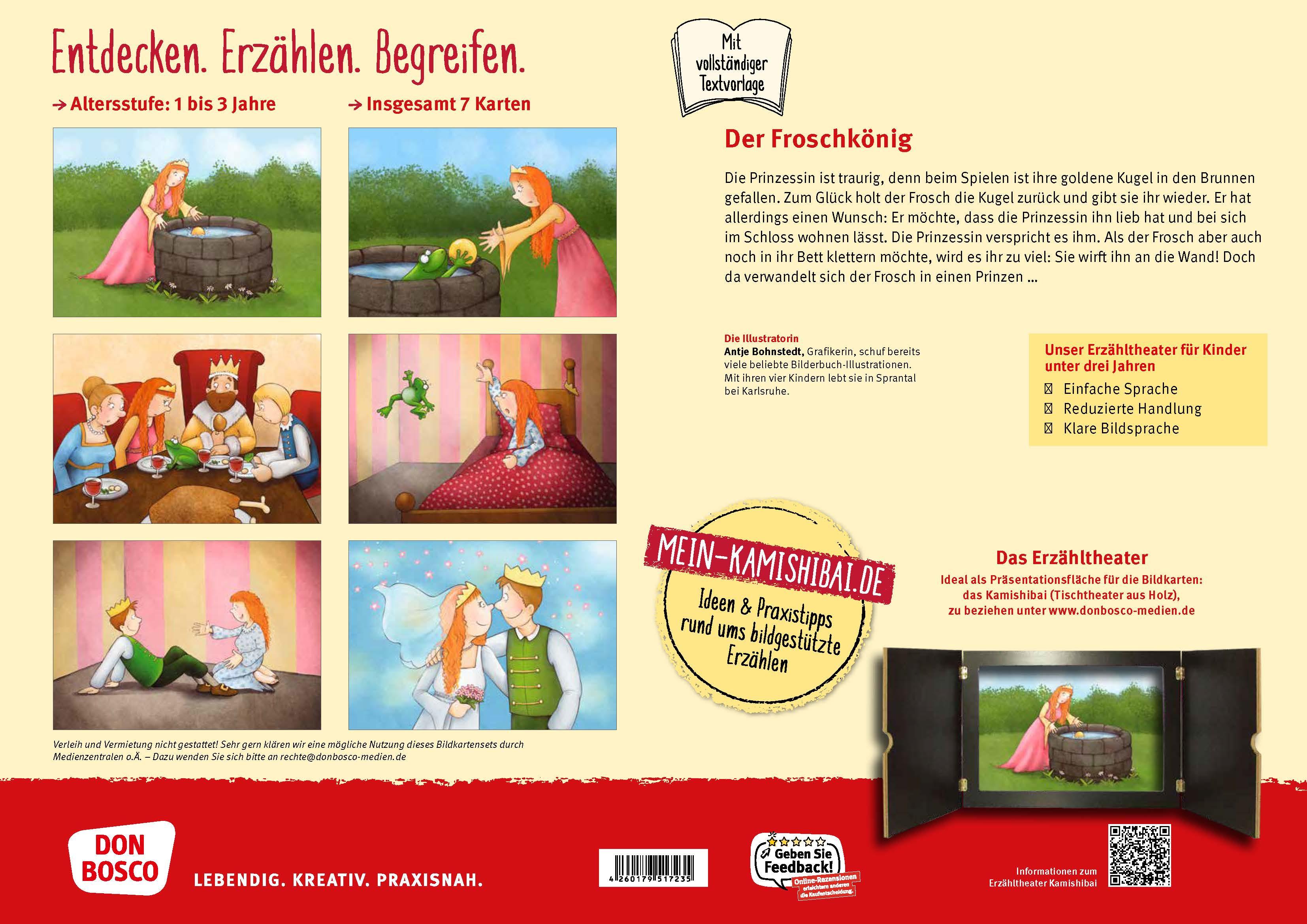 Innenansicht zu Der Froschkönig. Kamishibai Bildkartenset.