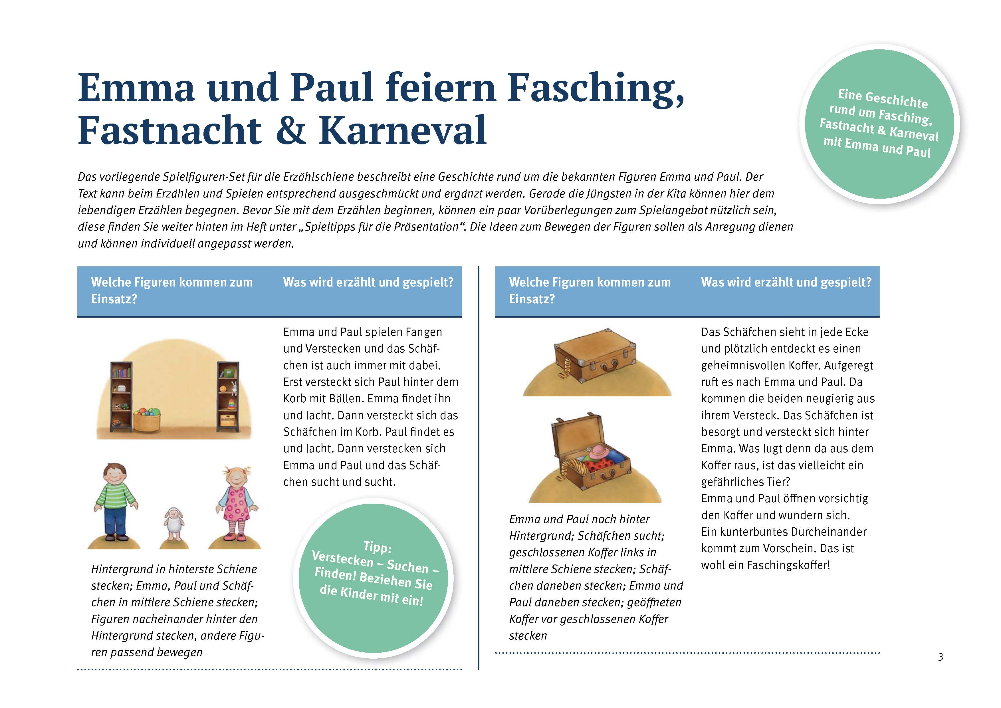 Innenansicht zu Emma und Paul feiern Fasching, Fastnacht & Karneval.