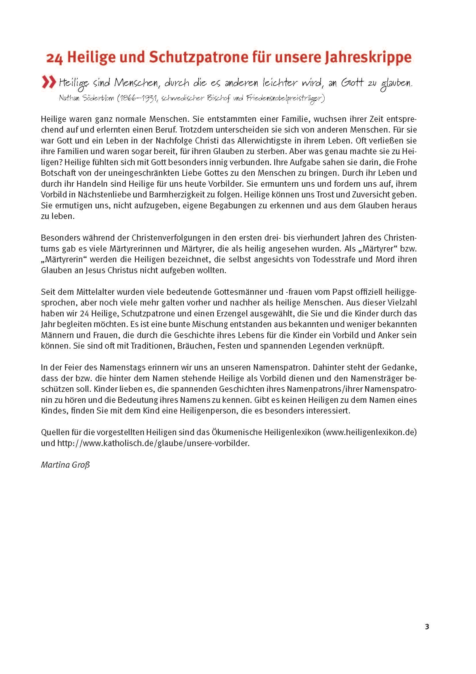 Innenansicht zu 24 Heilige und Schutzpatrone für unsere Jahreskrippe. eKami.