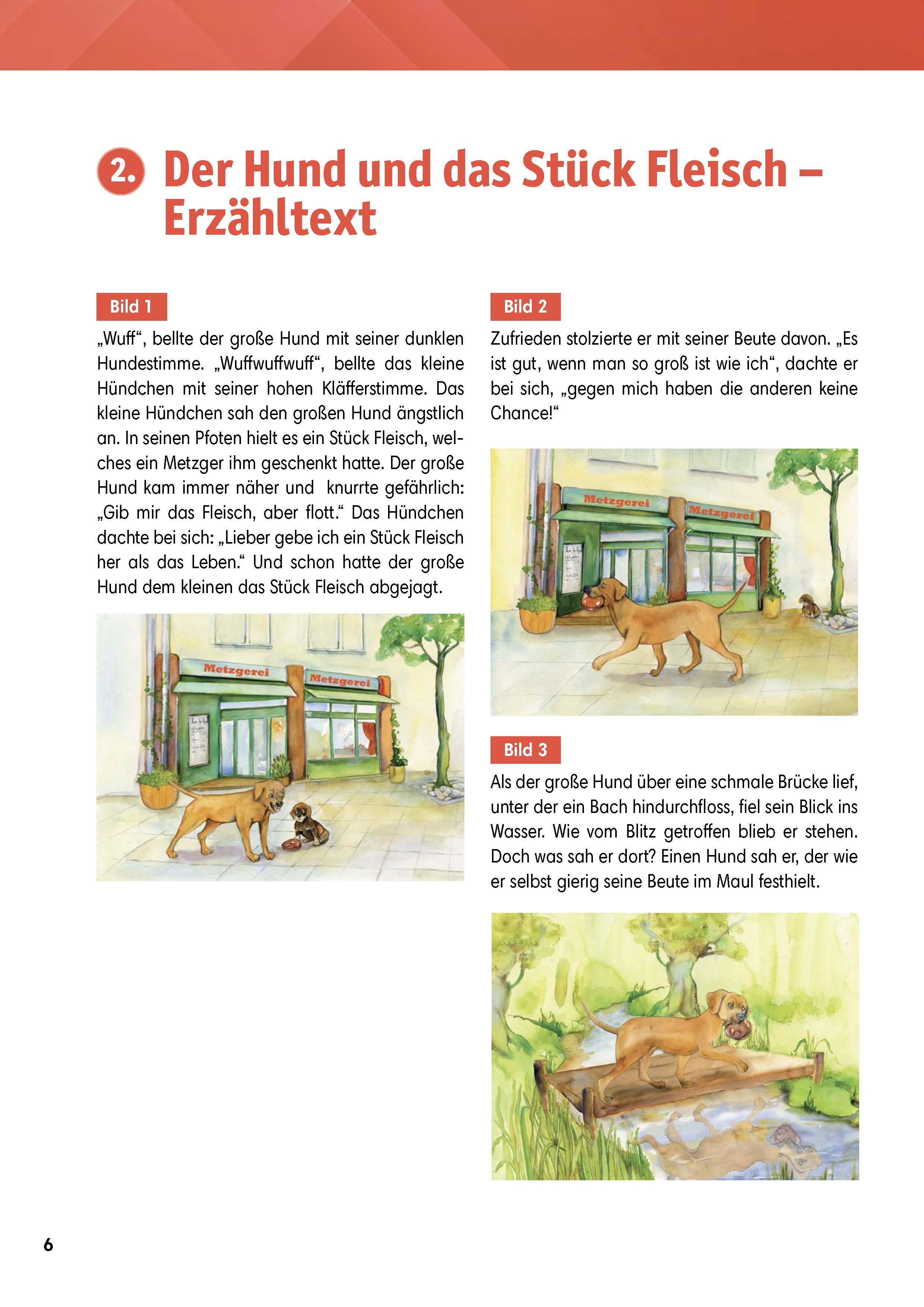 Innenansicht zu Arbeitsmaterial Grundschule. Fabeln für den Deutschunterricht: Der Hund und das Stück Fleisch