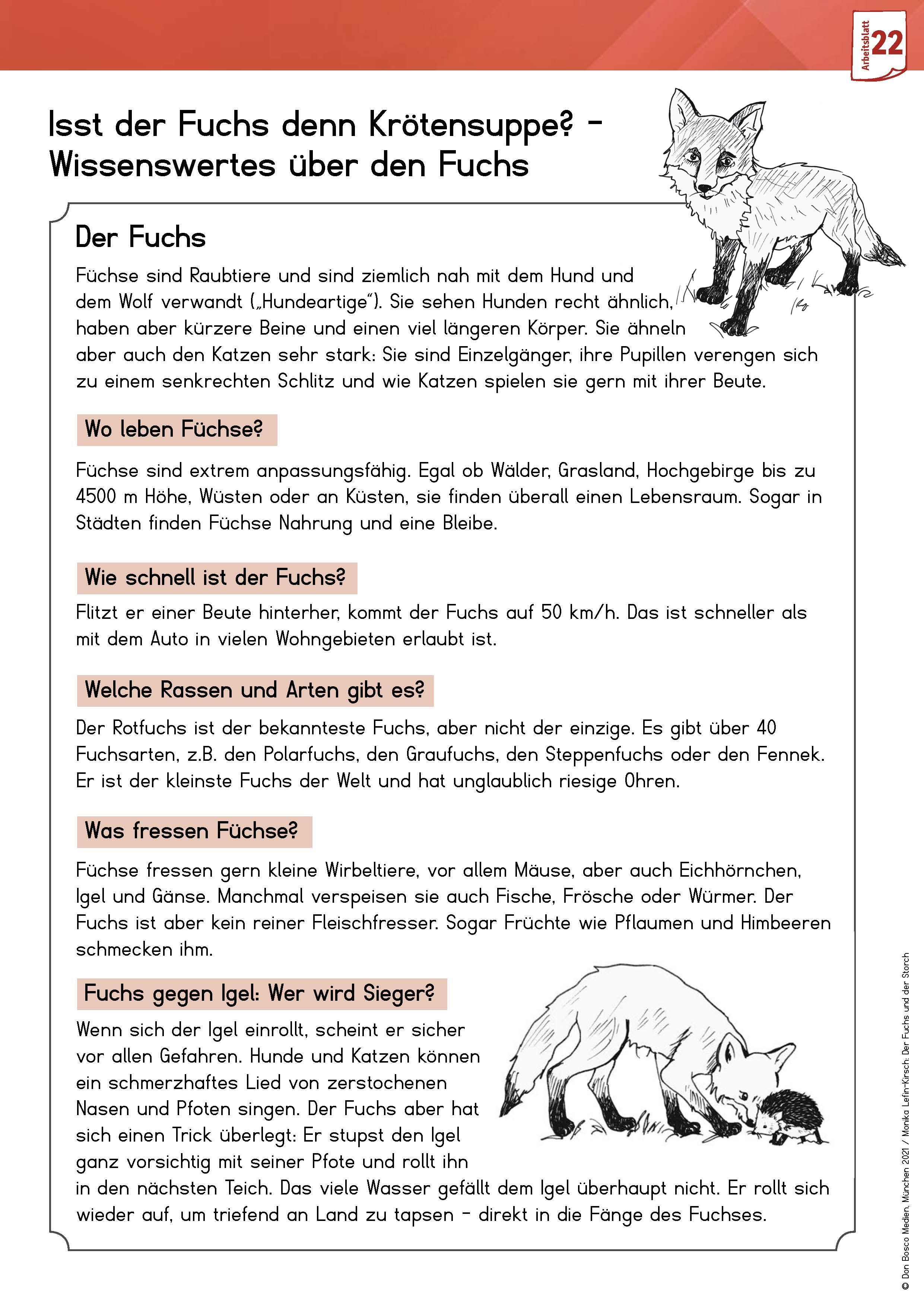 Innenansicht zu Arbeitsmaterial Grundschule. Fabeln für den Deutschunterricht. Der Fuchs und der Storch