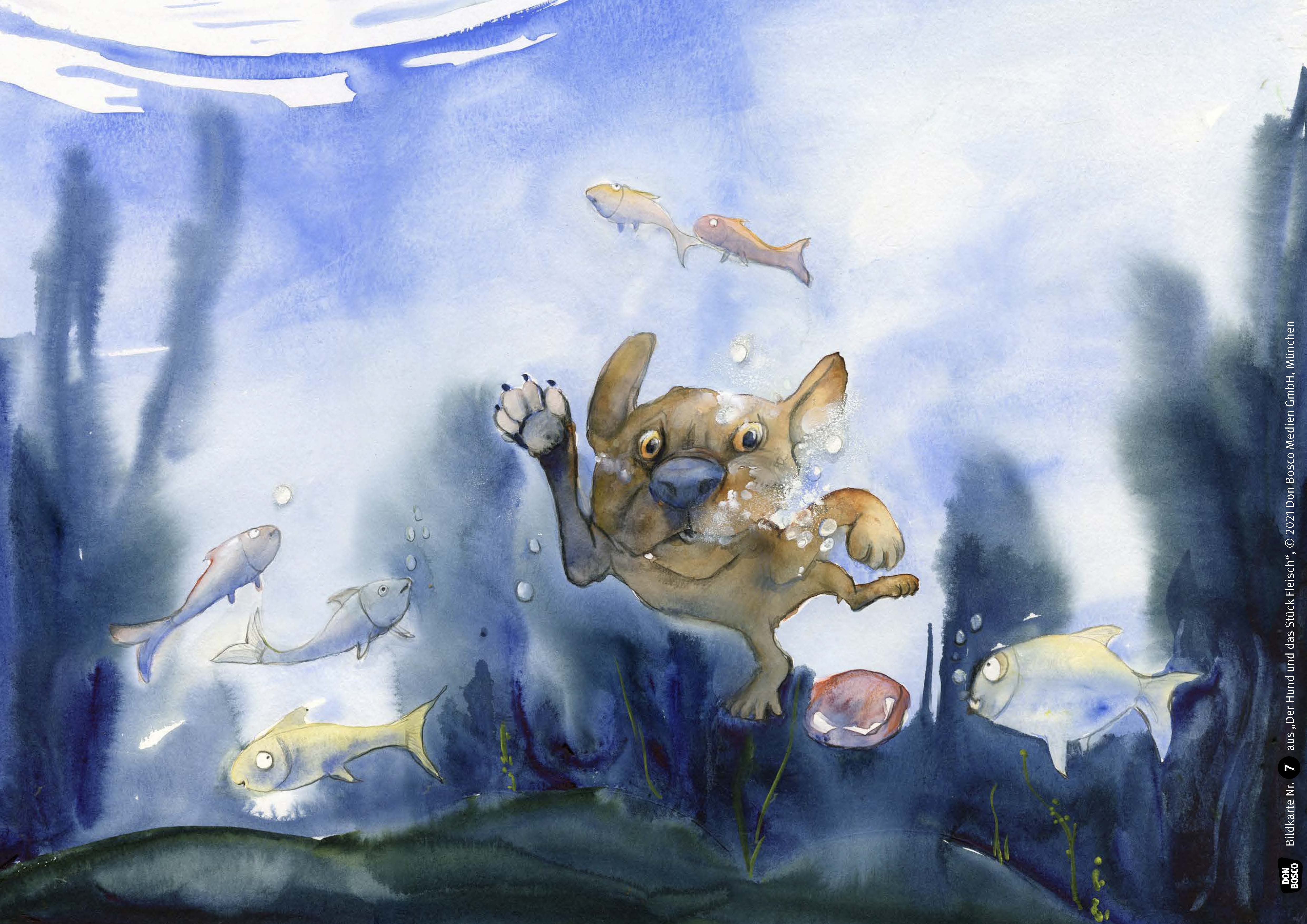Innenansicht zu Der Hund und das Stück Fleisch. Eine Fabel von Äsop. Kamishibai Bildkartenset.