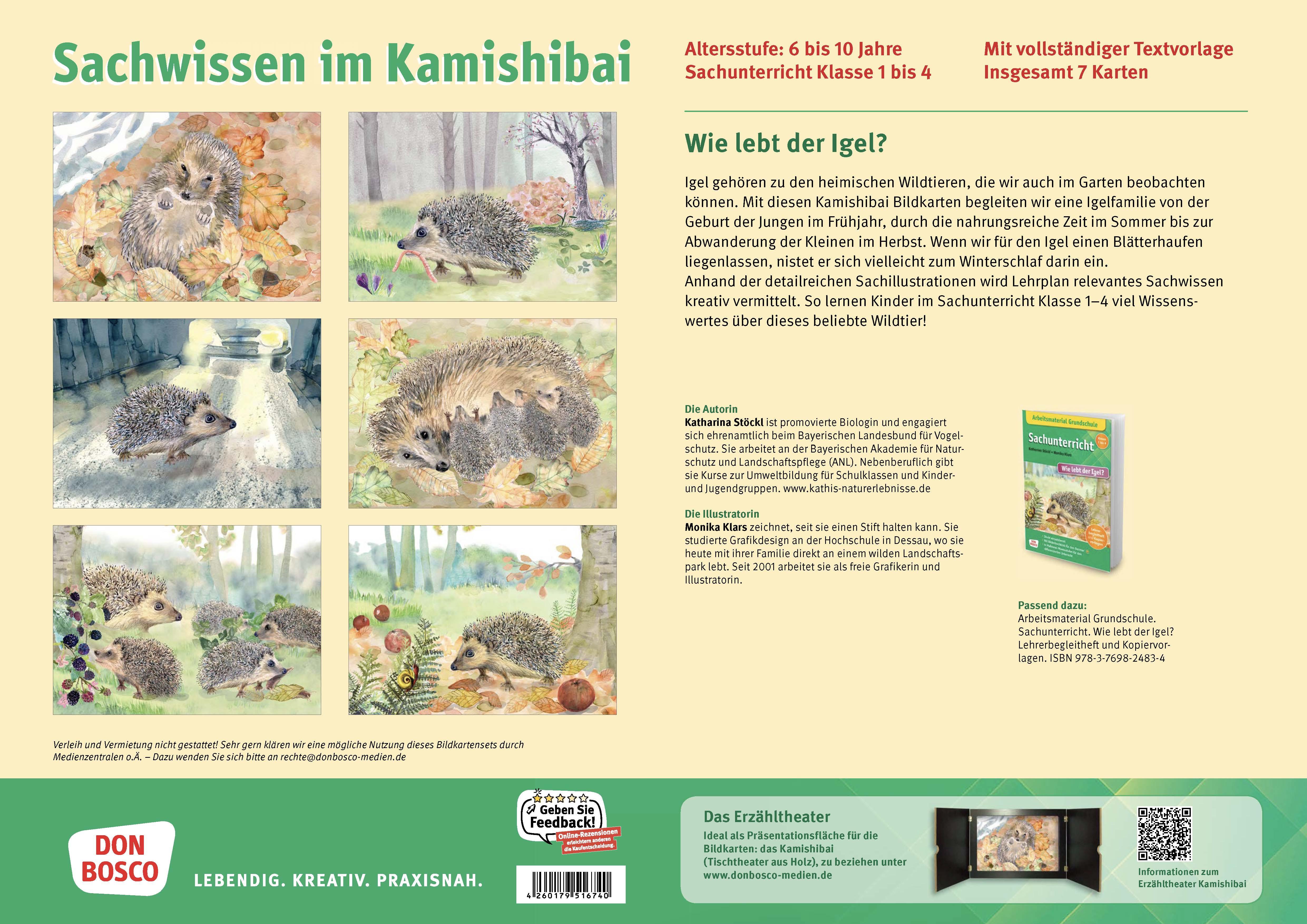 Innenansicht zu Wie lebt der Igel? Kamishibai Bildkartenset.