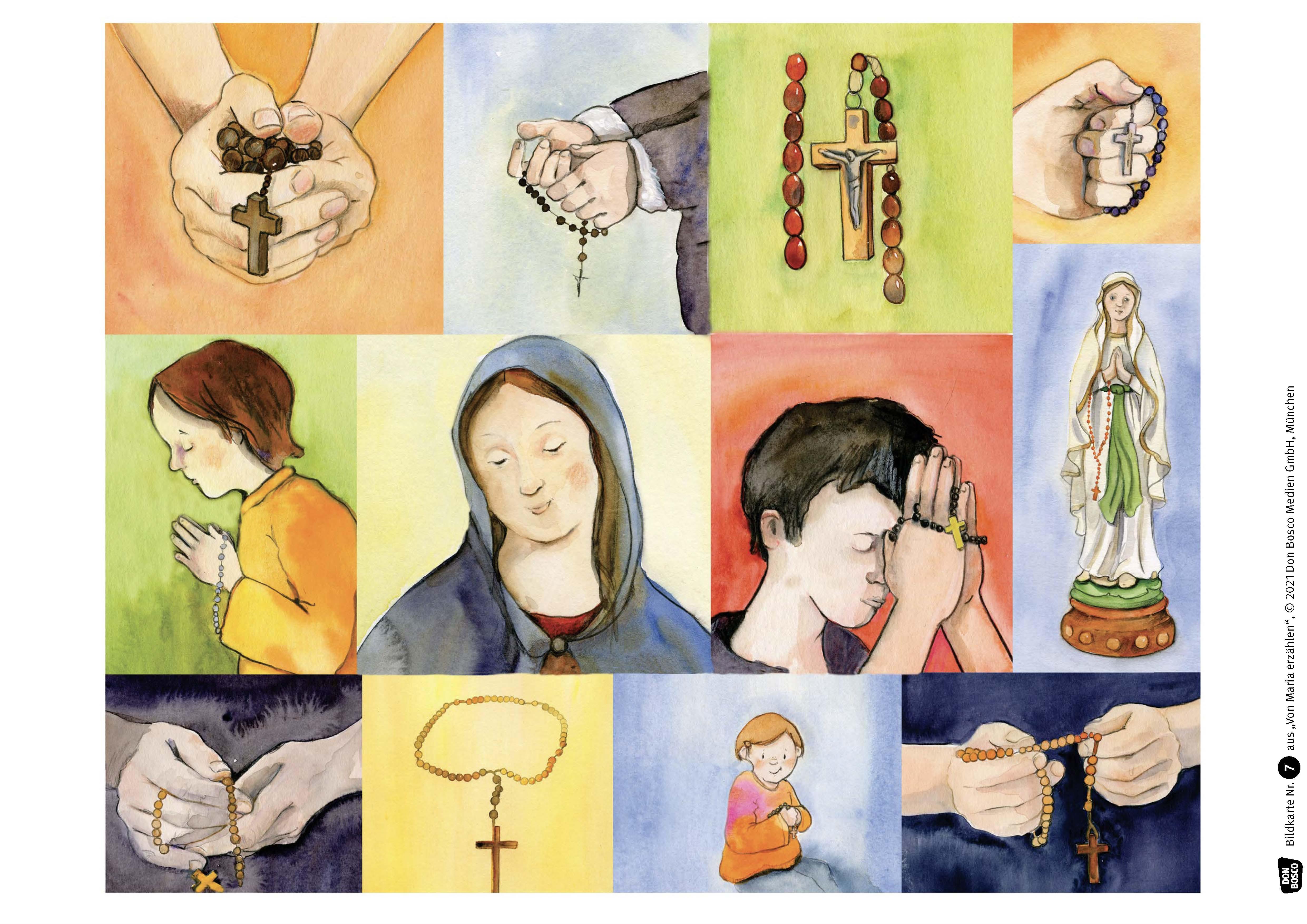 Innenansicht zu Von Maria erzählen. Geschichten, Feste und Brauchtum. Kamishibai Bildkartenset.
