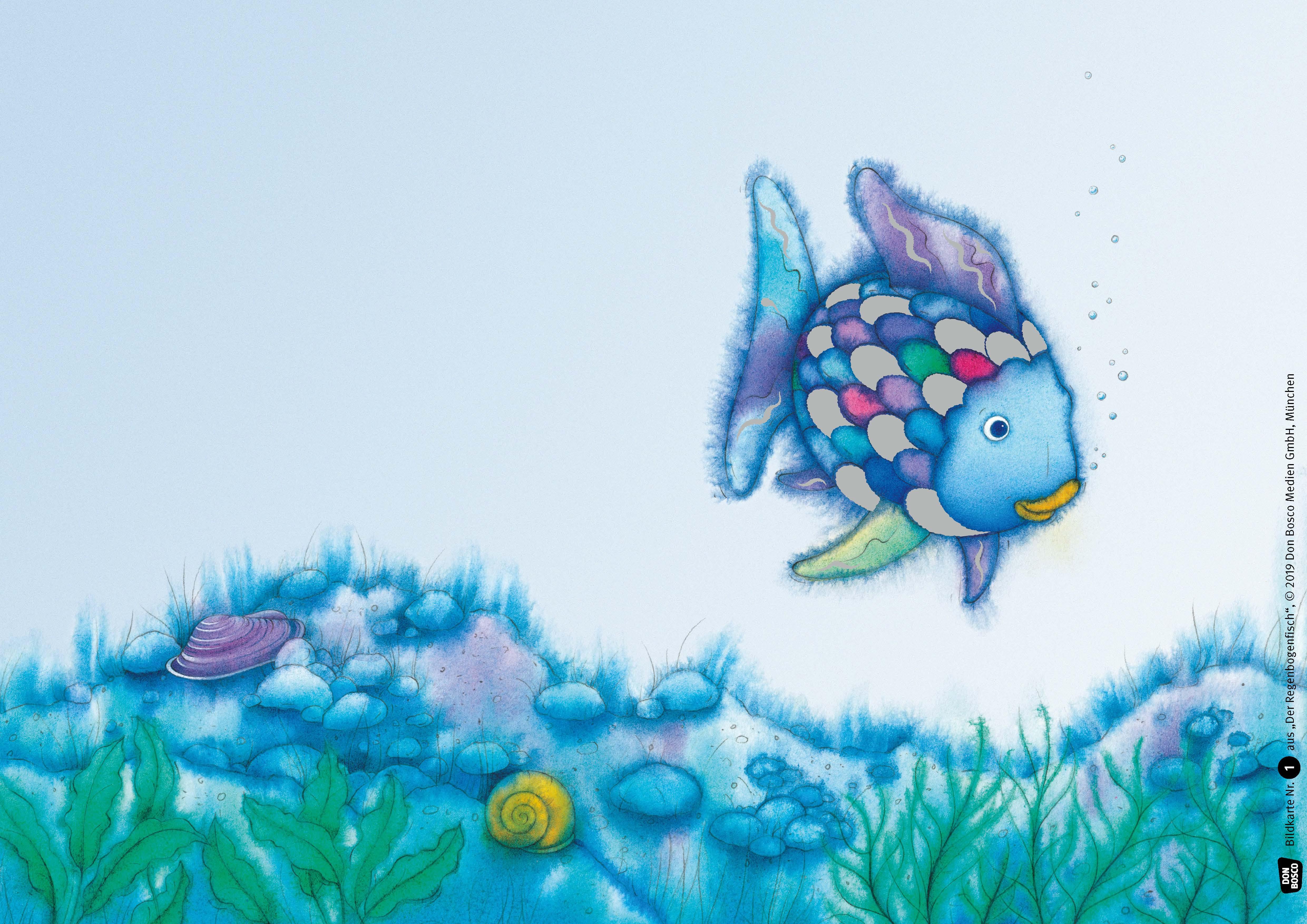 Innenansicht zu Der Regenbogenfisch, m. schillernden Schuppen. Kamishibai Bildkartenset.