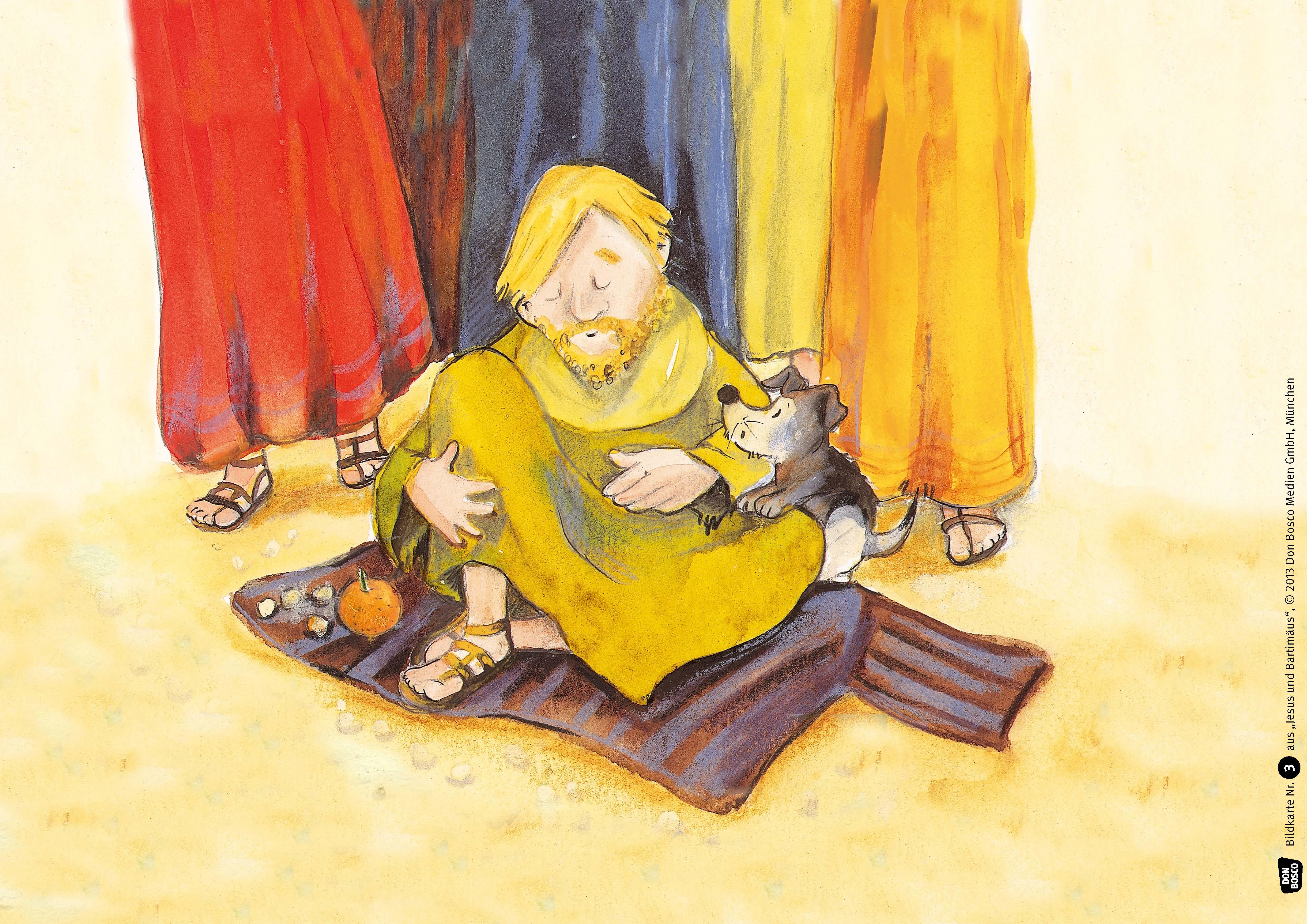 Innenansicht zu Jesus und Bartimäus. Kamishibai Bildkartenset.