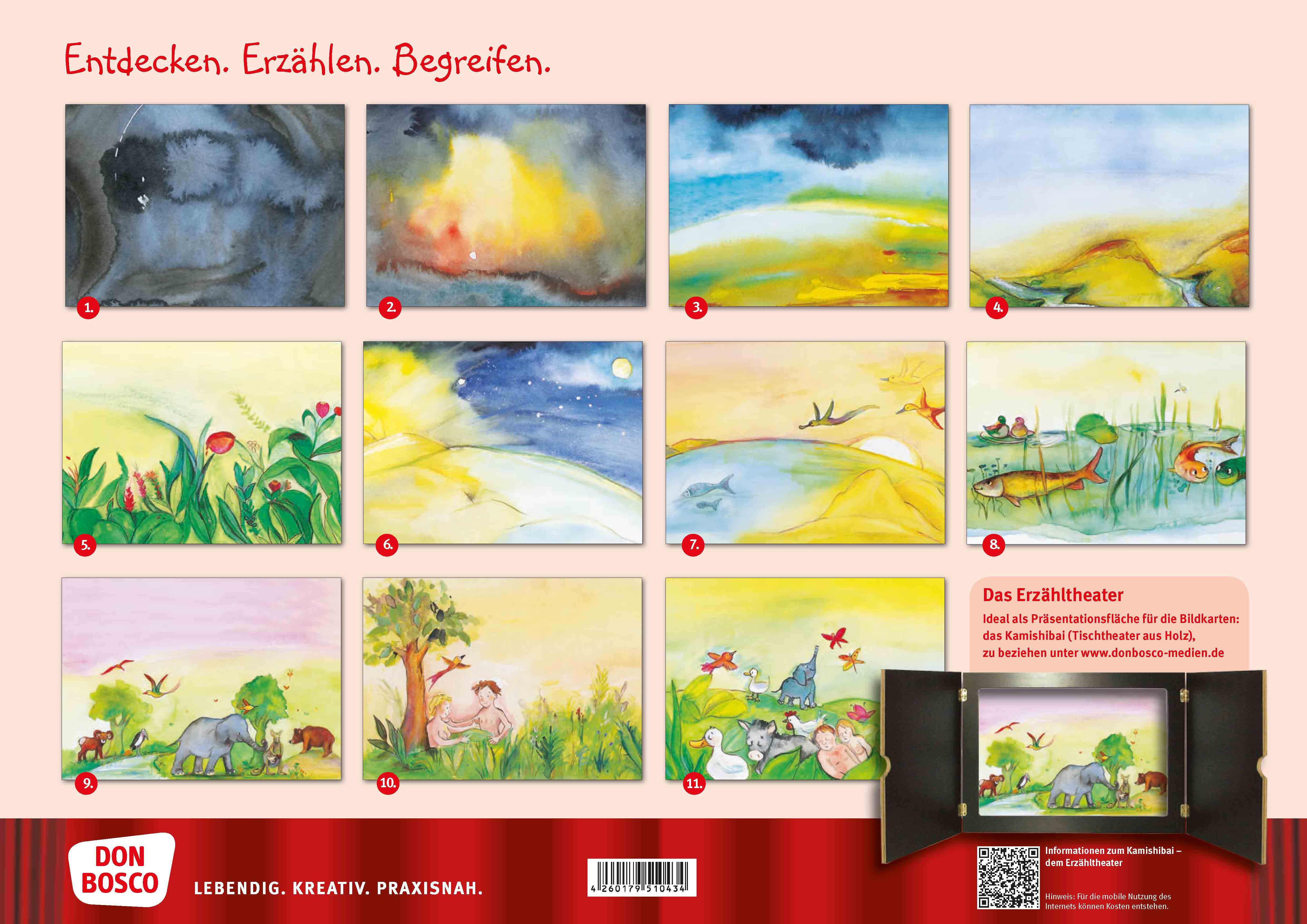 Innenansicht zu Die Schöpfungsgeschichte. Wie Himmel und Erde entstanden. Kamishibai Bildkartenset.