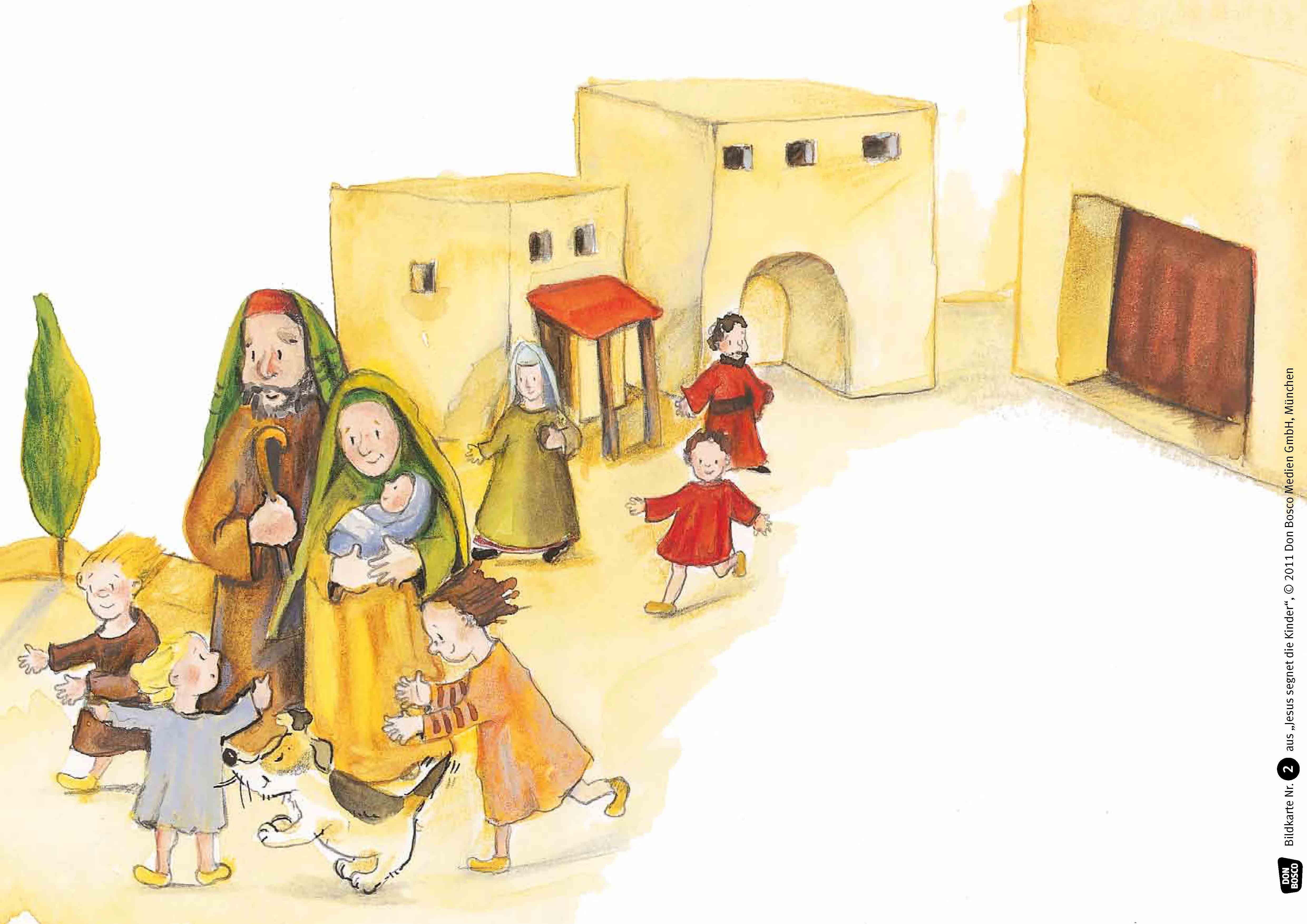 Innenansicht zu Jesus segnet die Kinder. Kamishibai Bildkartenset.