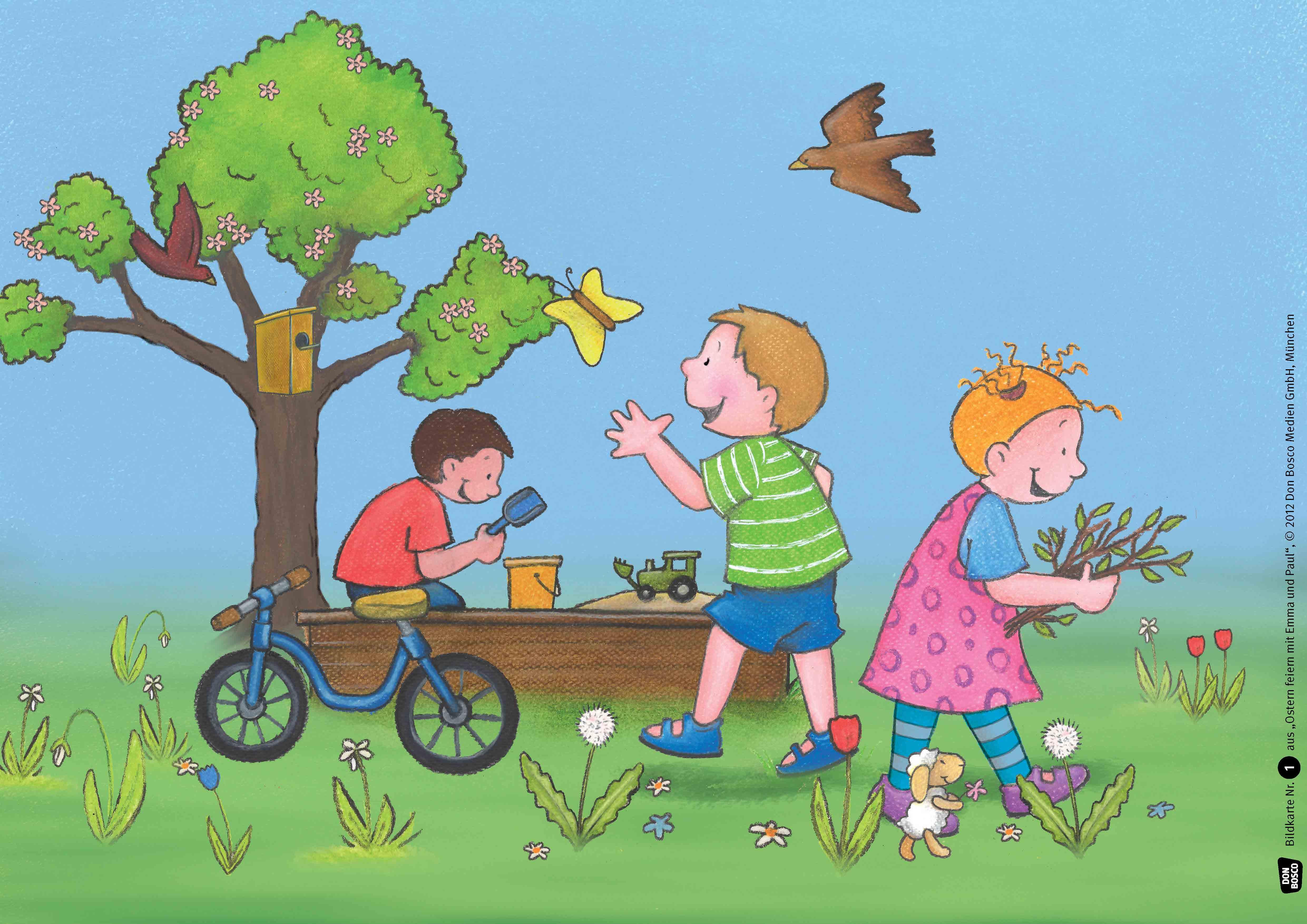 Innenansicht zu Ostern feiern mit Emma und Paul. Kamishibai Bildkartenset.