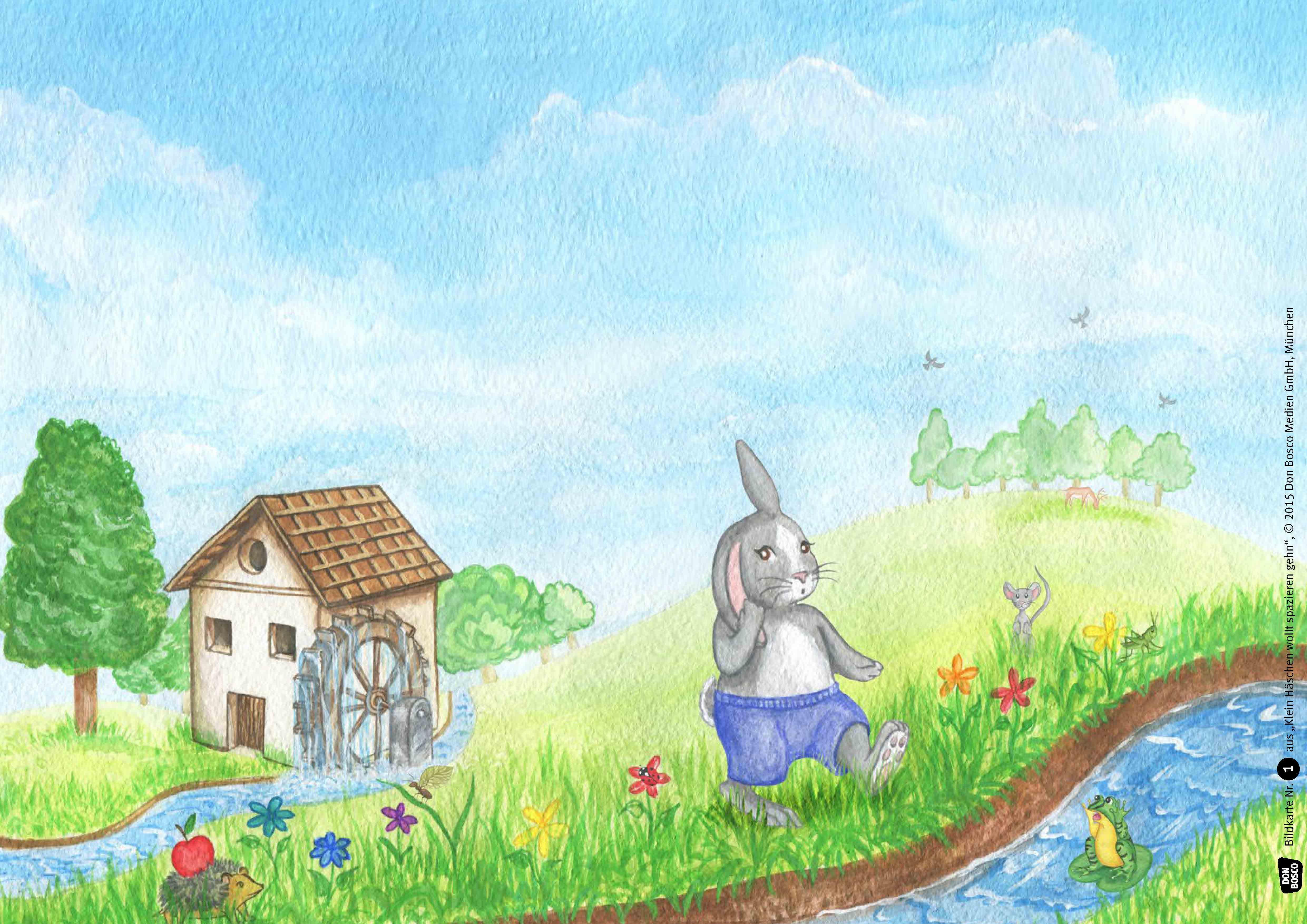 Innenansicht zu Klein Häschen wollt spazieren gehn. Kamishibai Bildkartenset.