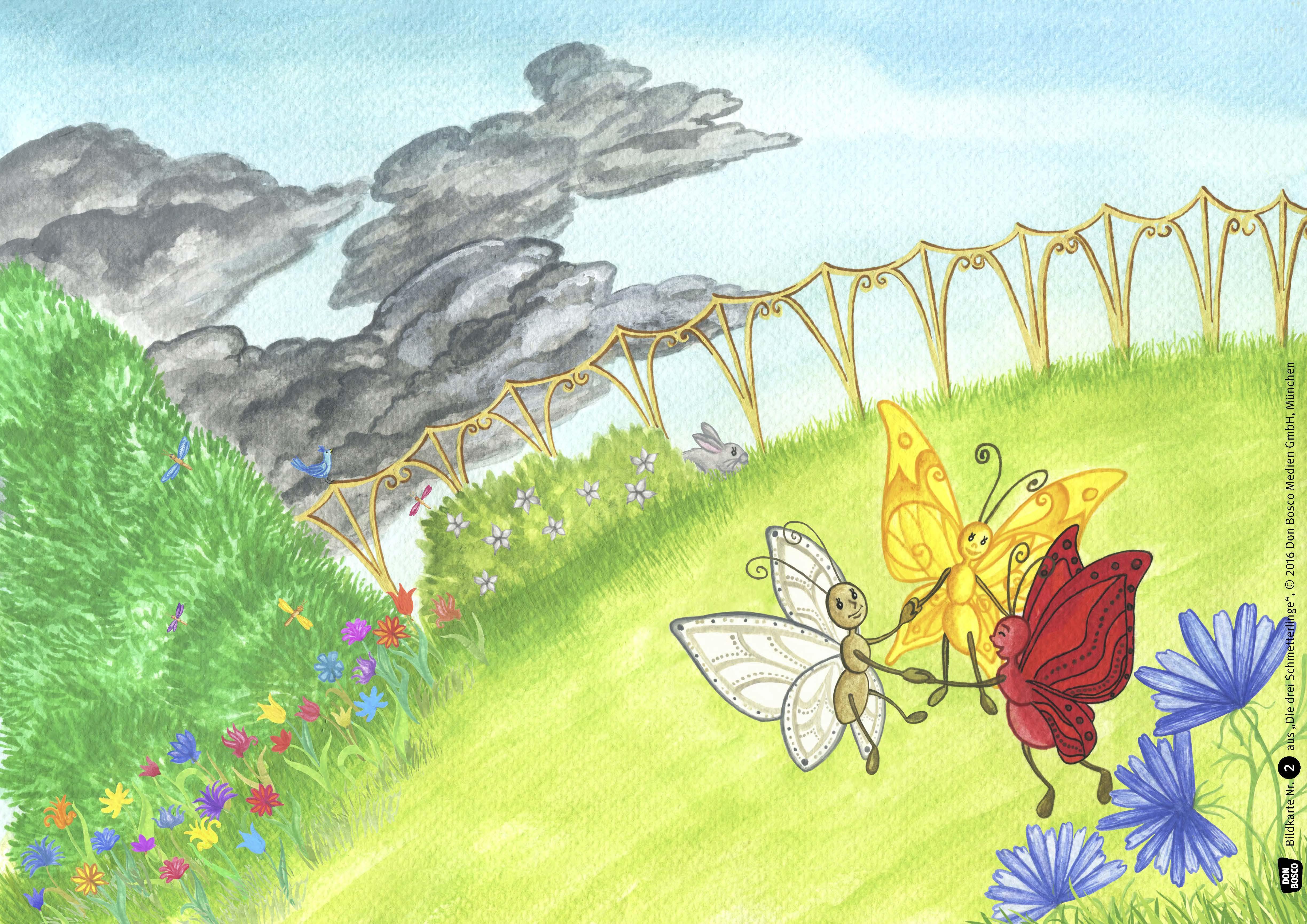 Innenansicht zu Die drei Schmetterlinge. Kamishibai Bildkartenset.