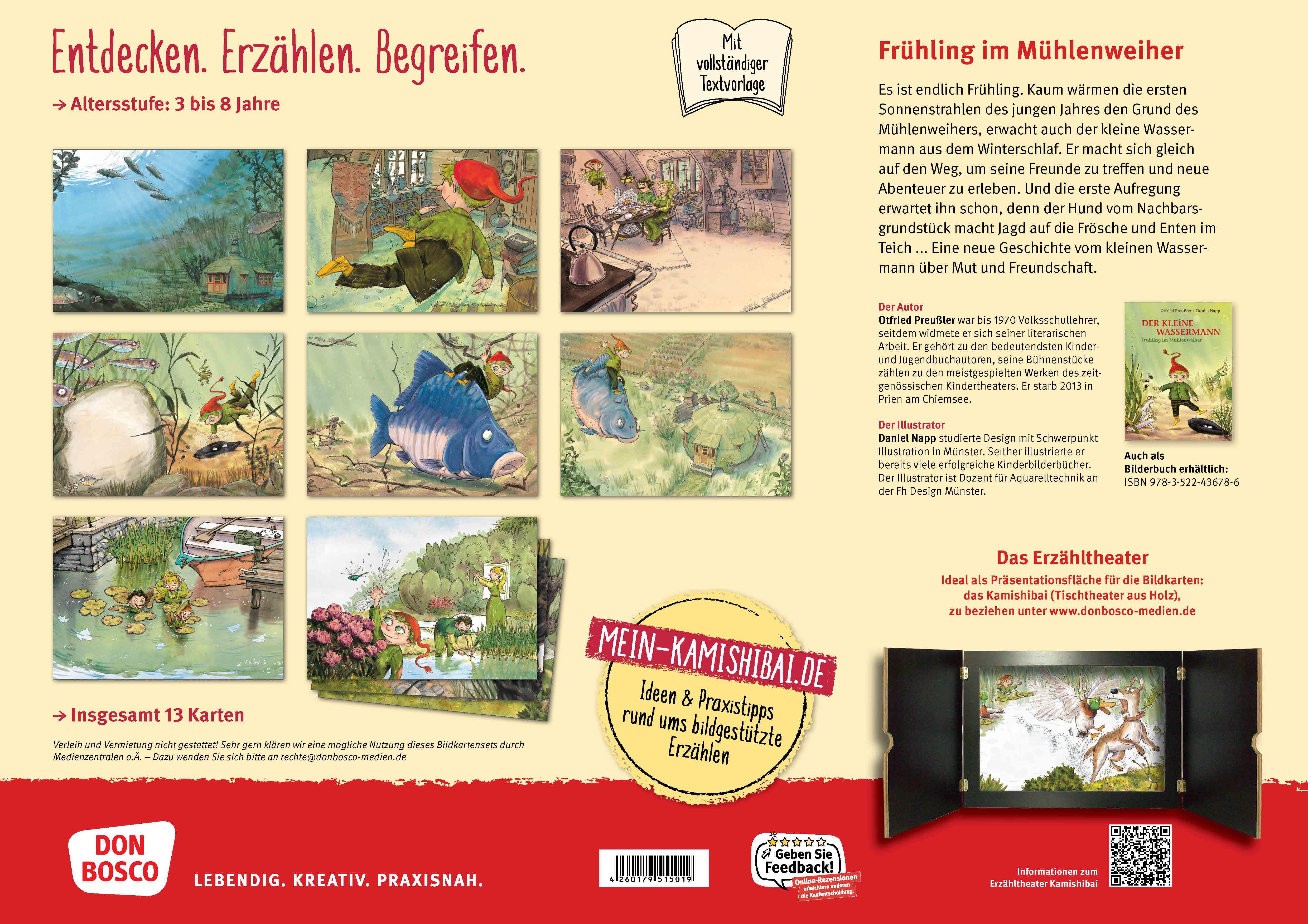 Innenansicht zu Der kleine Wassermann – Frühling im Mühlenweiher. Kamishibai Bildkartenset.