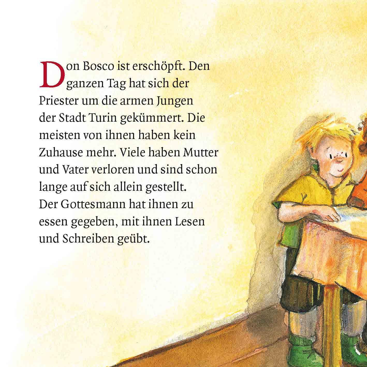 Innenansicht zu Don Bosco und die Spatzen. Mini-Bilderbuch.