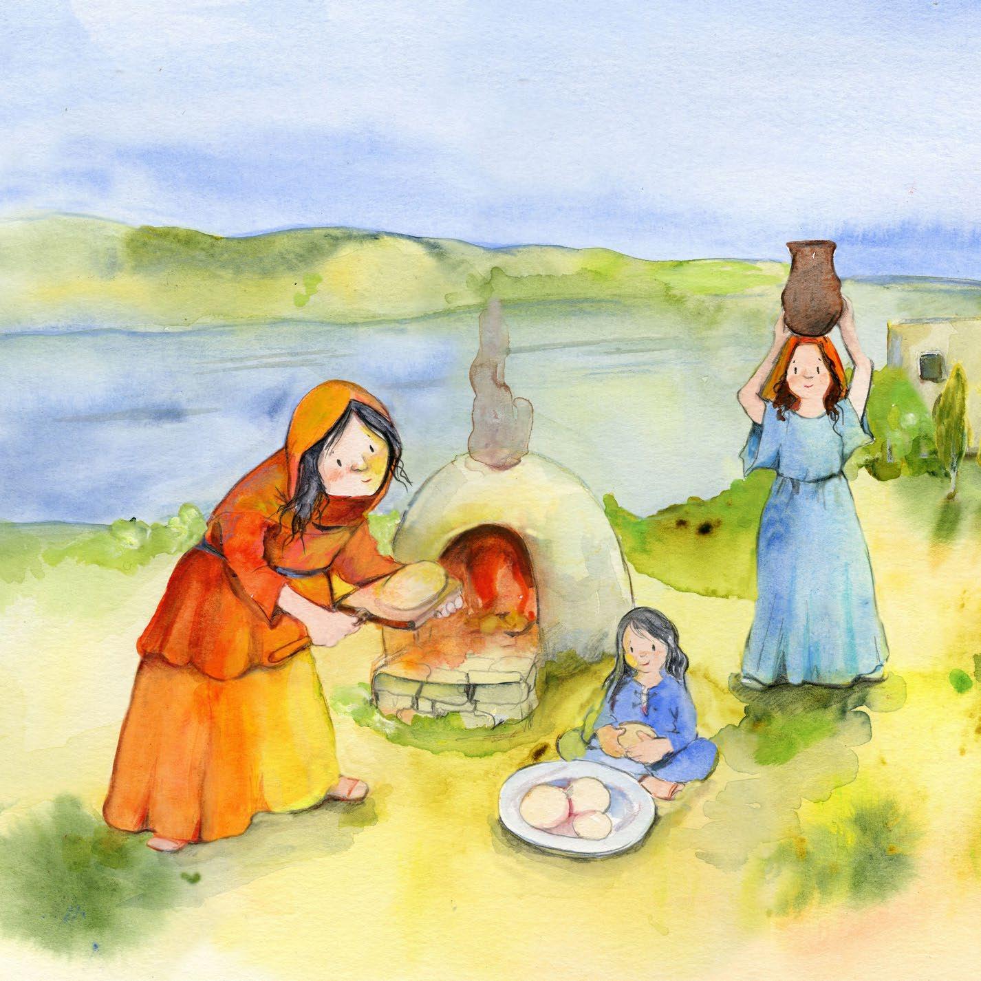 Innenansicht zu Jesus erzählt vom Reich Gottes. Vier Gleichnisse: Vom Sämann. Von der selbstwachsenden Saat. Vom Senfkorn. Vom Sauerteig. Mini-Bilderbuch.