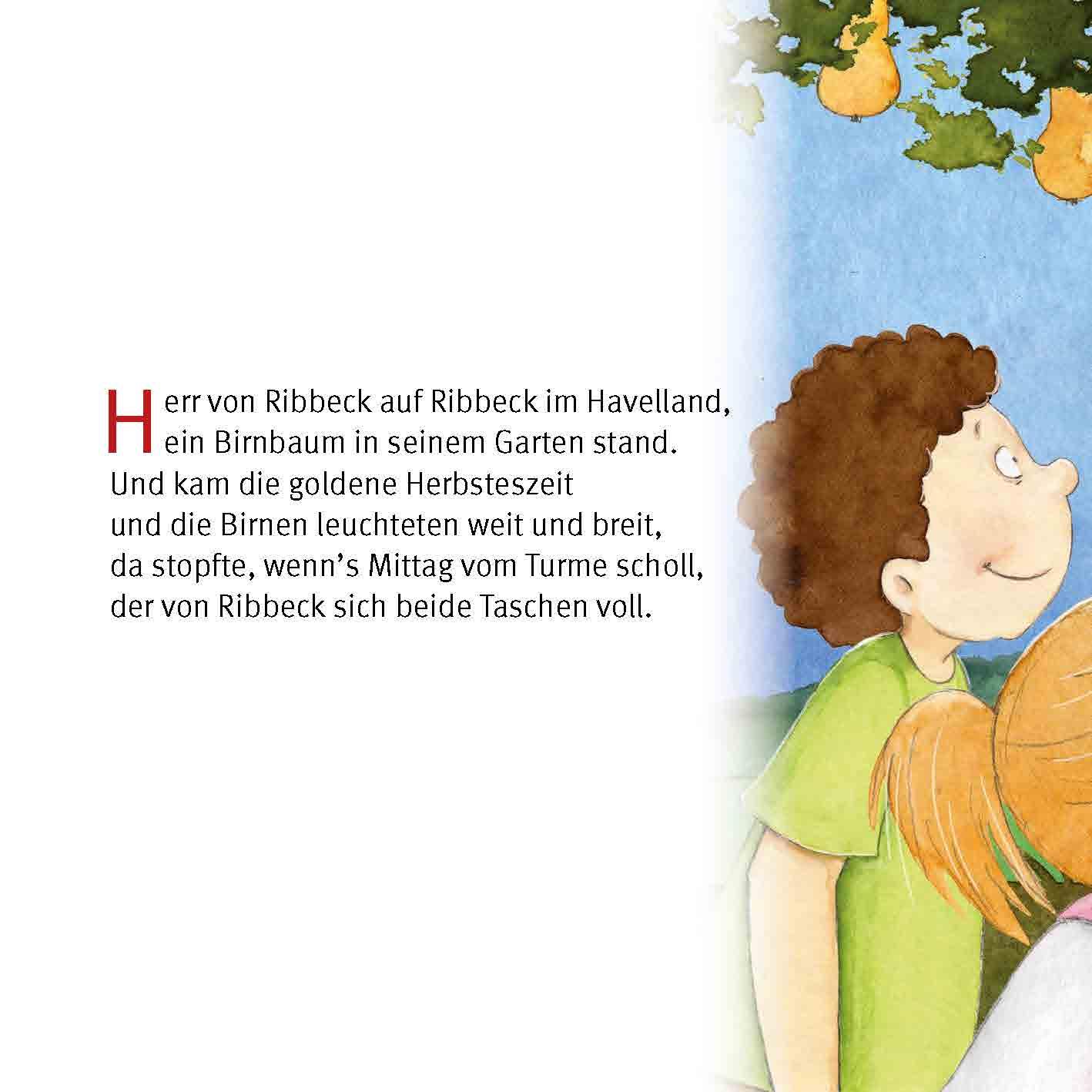 Innenansicht zu Herr von Ribbeck auf Ribbeck im Havelland. Mini-Bilderbuch.