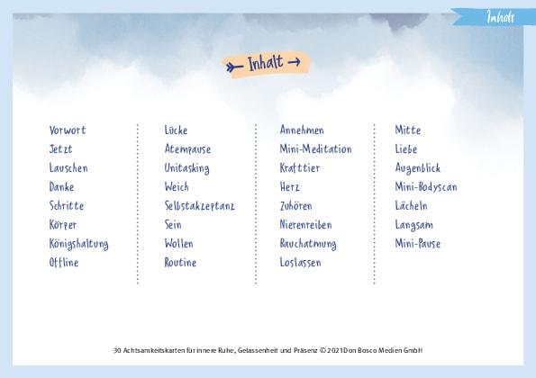 Innenansicht zu 30 Achtsamkeitskarten für innere Ruhe, Gelassenheit und Präsenz