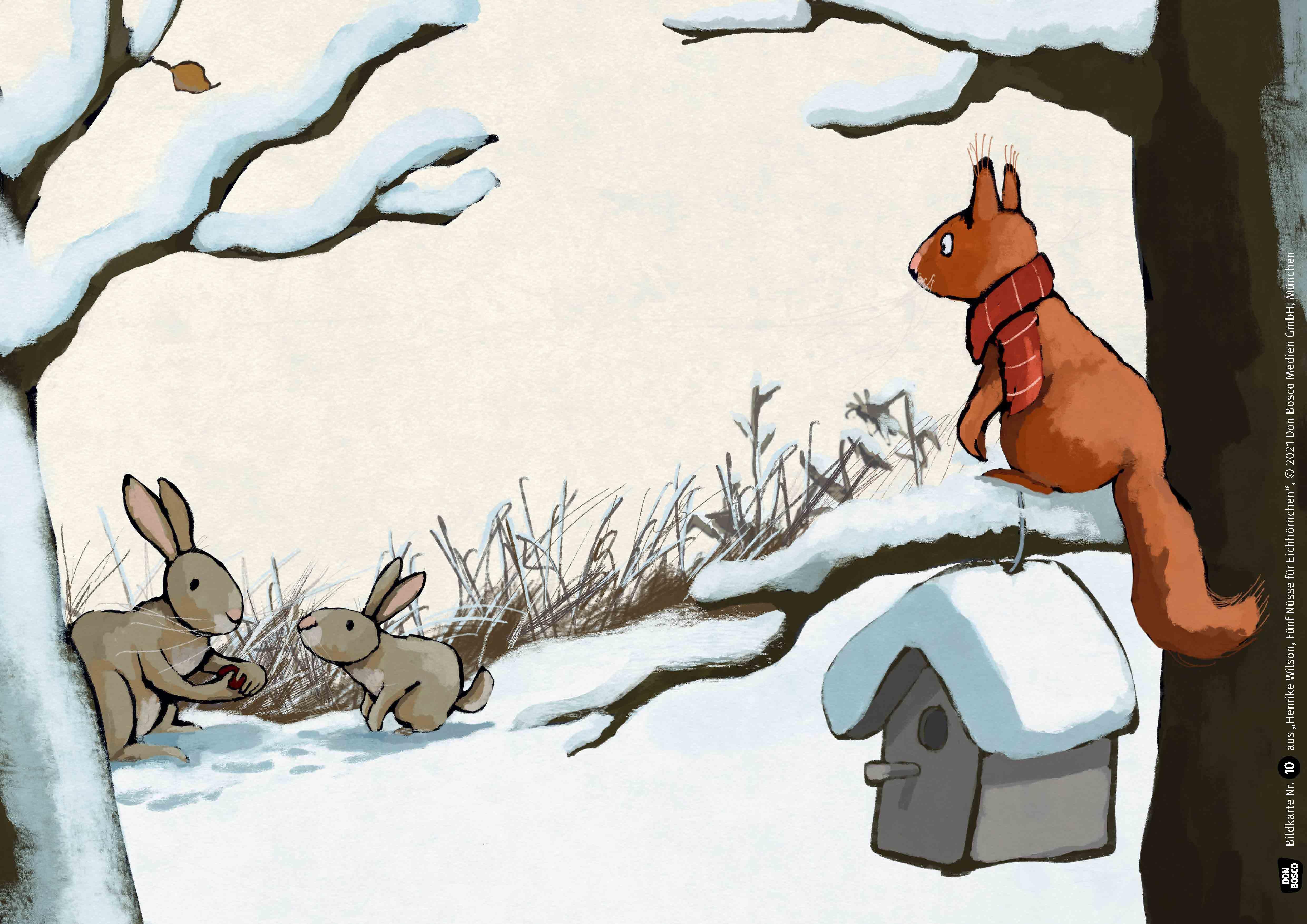 Innenansicht zu Fünf Nüsse für Eichhörnchen. Kamishibai Bildkartenset