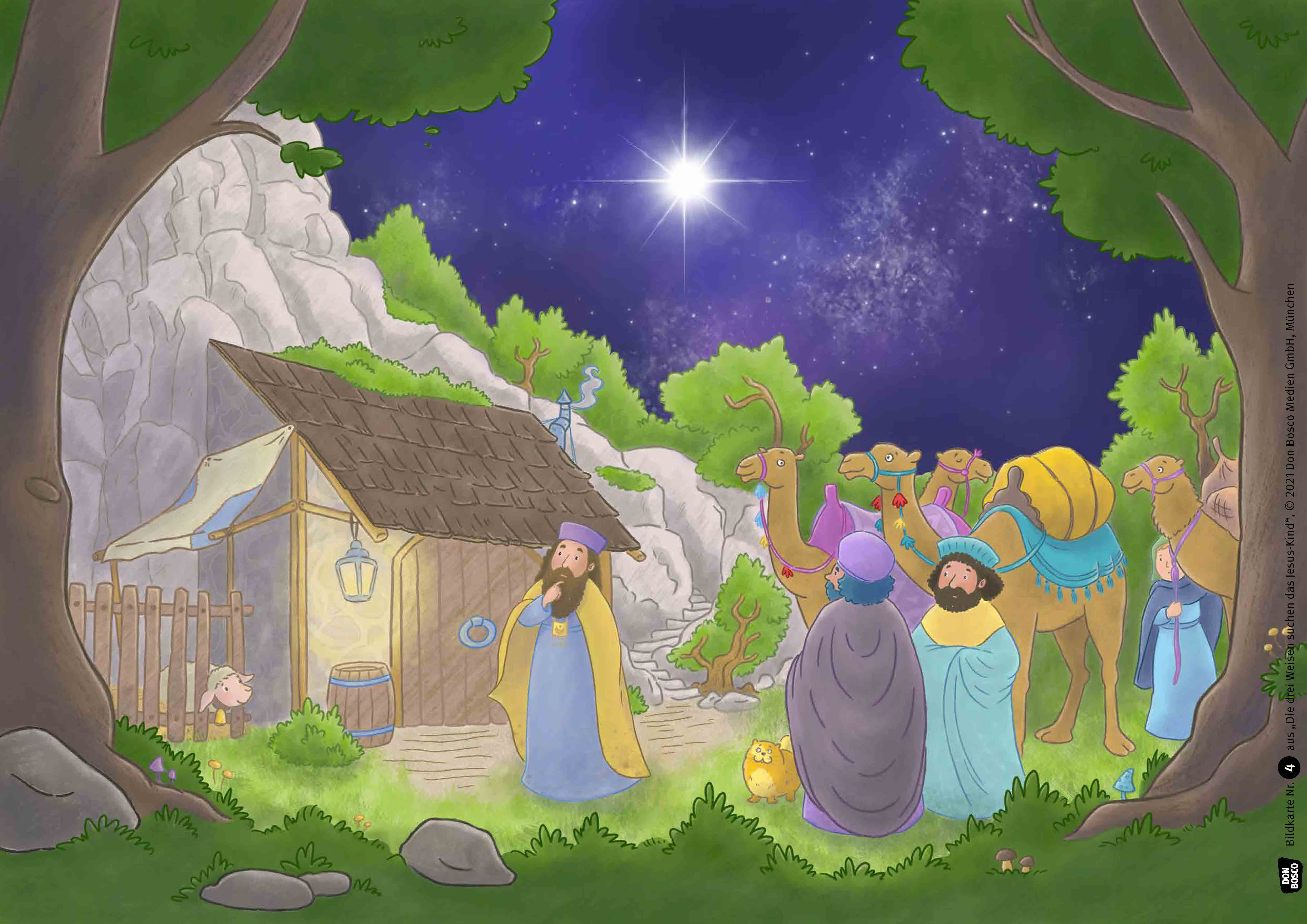 Innenansicht zu Die drei Weisen suchen das Jesus-Kind. Kamishibai Bildkartenset