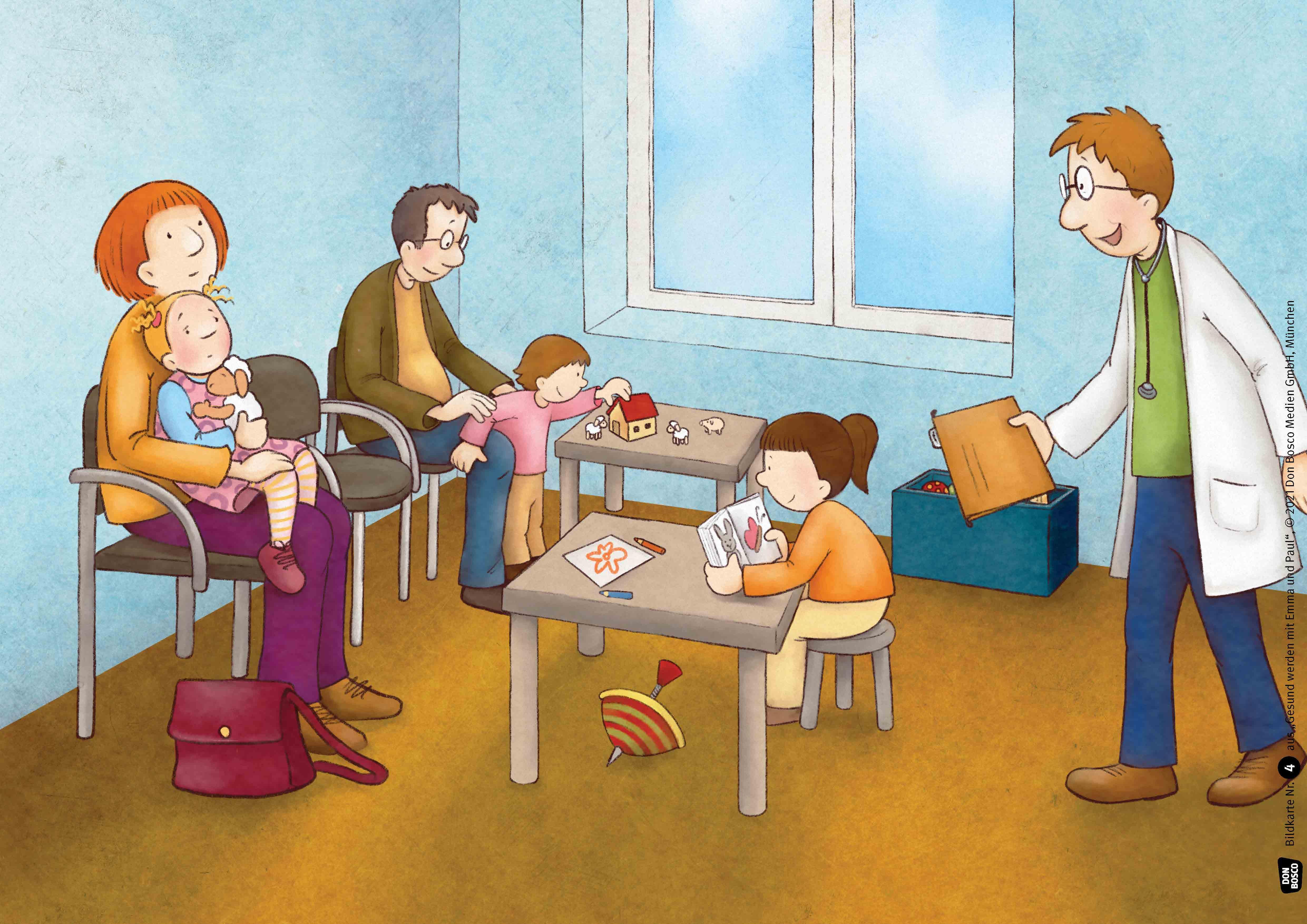 Innenansicht zu Gesund werden mit Emma und Paul. Kamishibai Bildkartenset