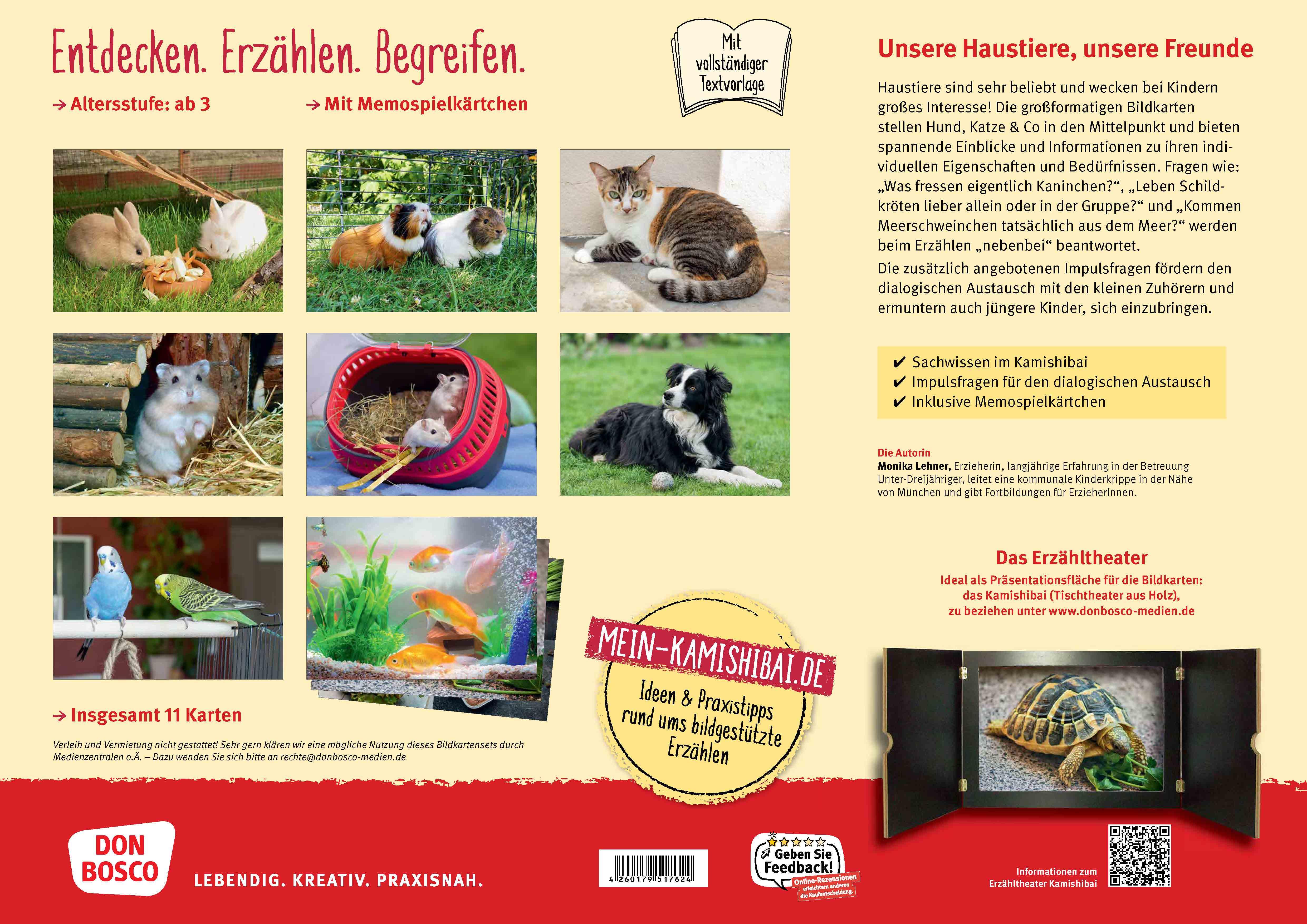Innenansicht zu Hund, Katze und Kaninchen. Unsere Haustiere. Kamishibai Bildkarten und Memo-Spiel