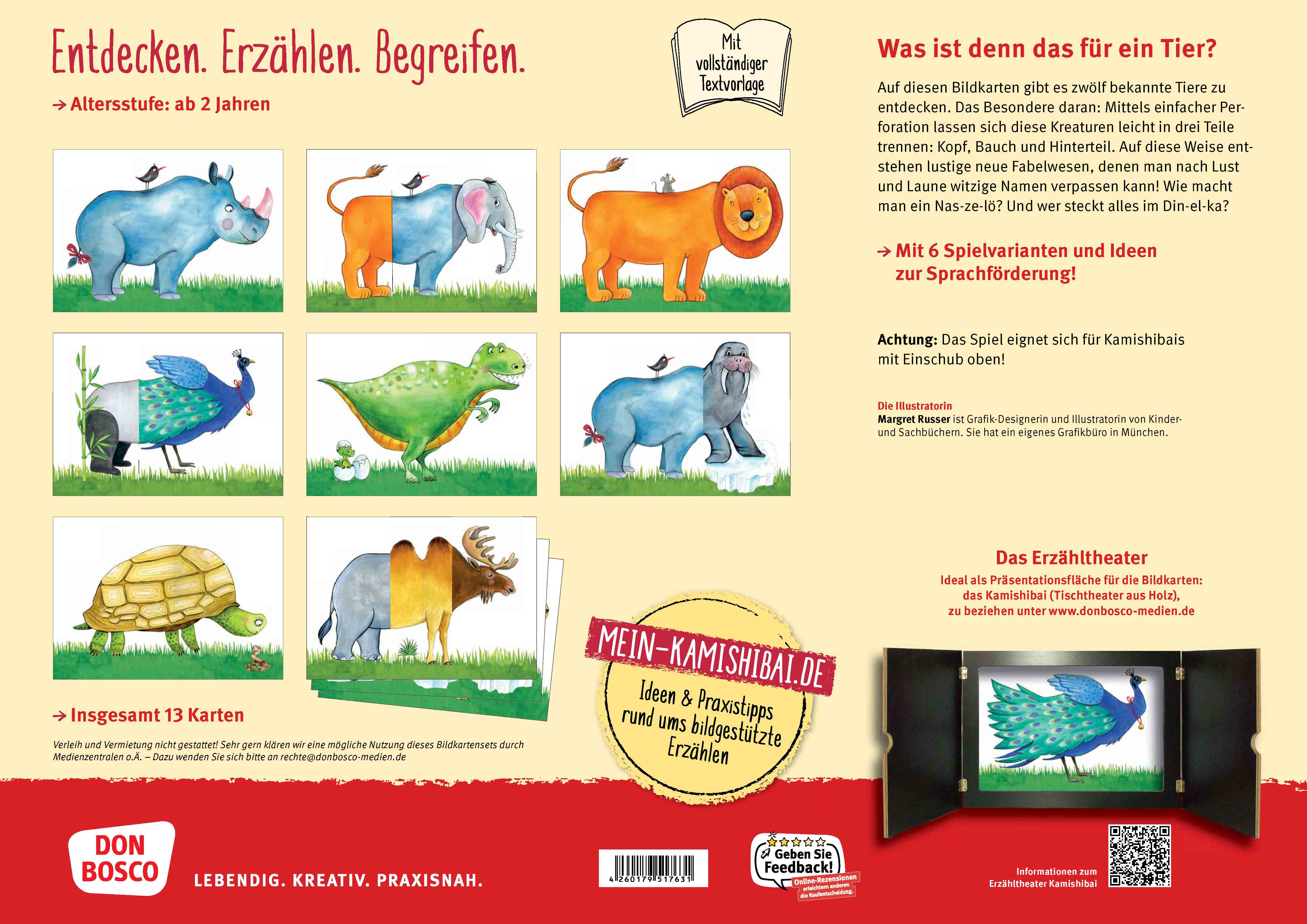 Innenansicht zu Zelöfant und Krökadin: Meine verrückten Lieblingstiere. Kamishibai Bildkartenset