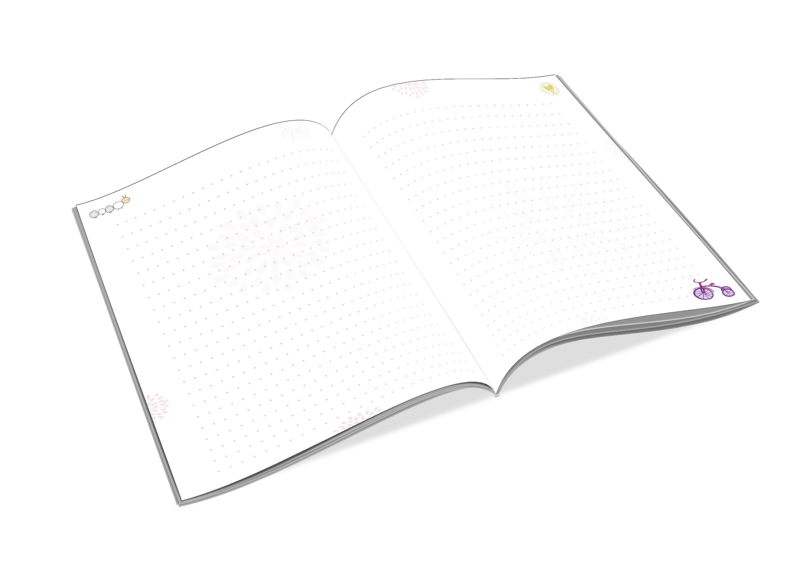 Innenansicht zu Notizbuch mit Herz