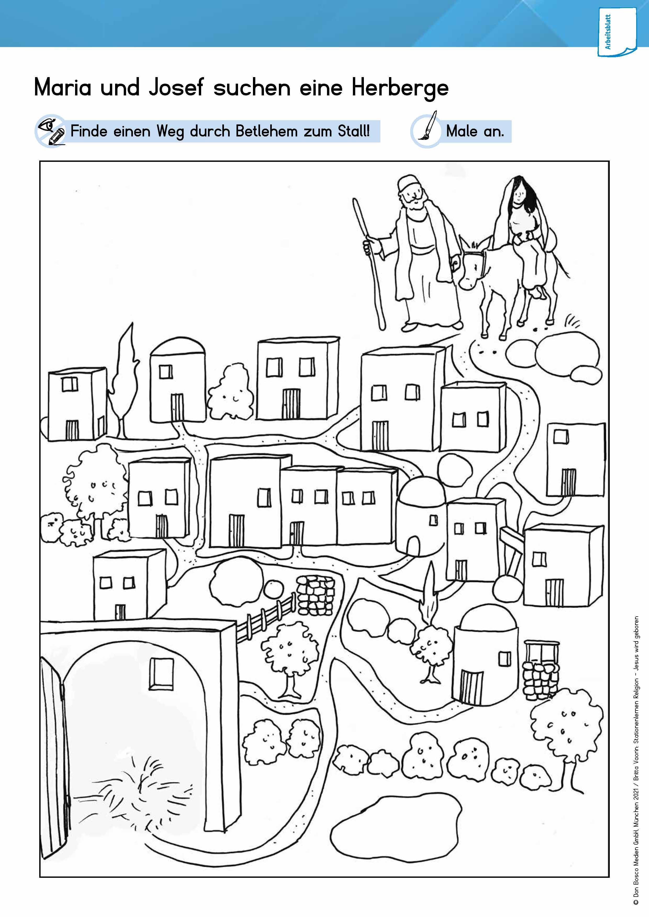 Innenansicht zu Arbeitsmaterial Grundschule. Stationenlernen Religion: Jesus wird geboren