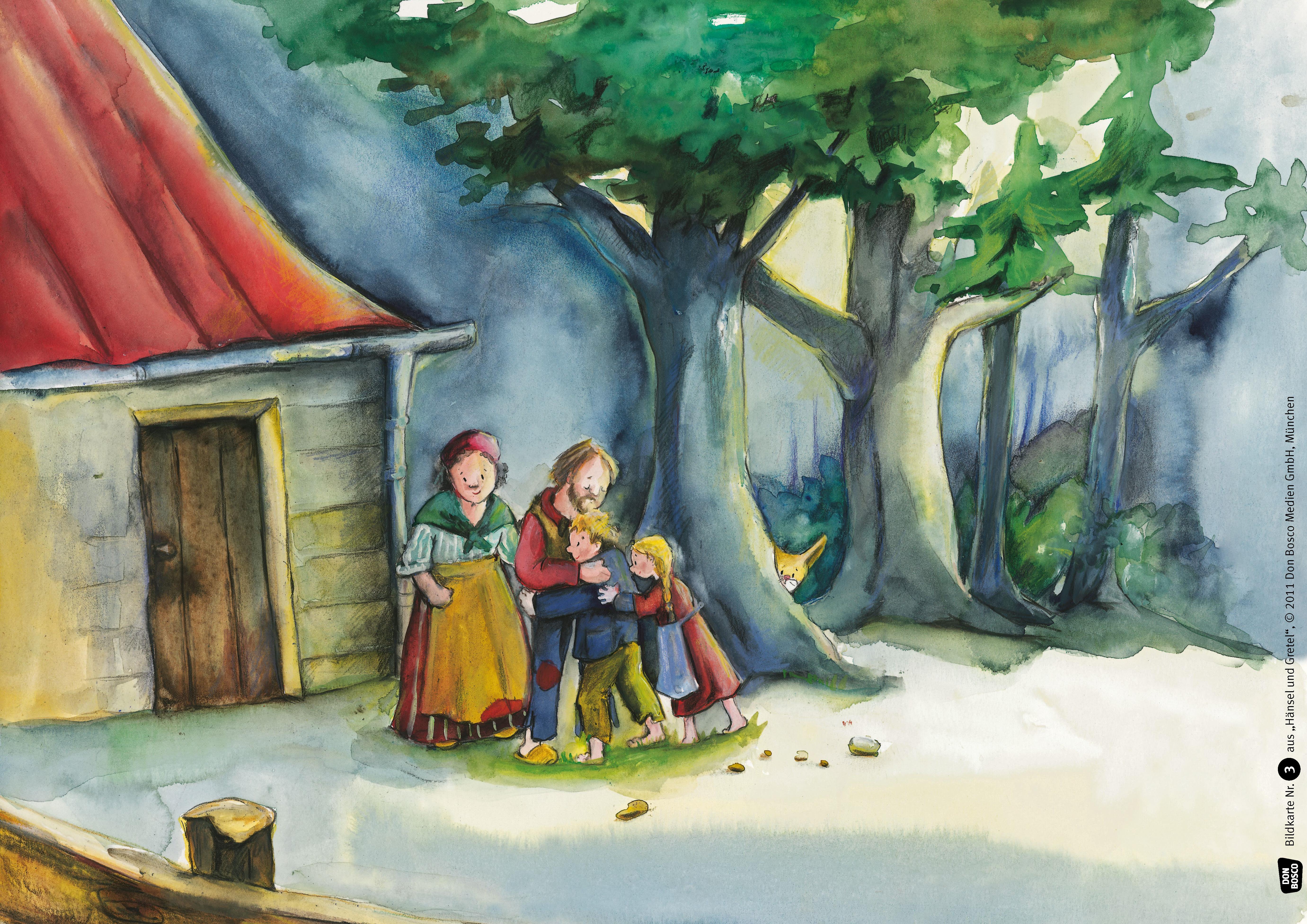 Innenansicht zu Hänsel und Gretel. Kamishibai Bildkartenset.