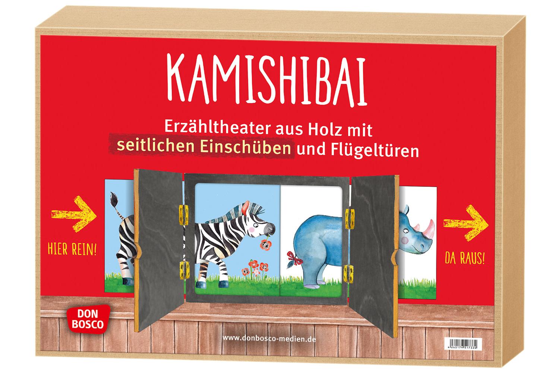 Innenansicht zu Kamishibai mit seitlichem Einschub und offener Rückwand.Erzähltheater für BildkarteninDIN A3.