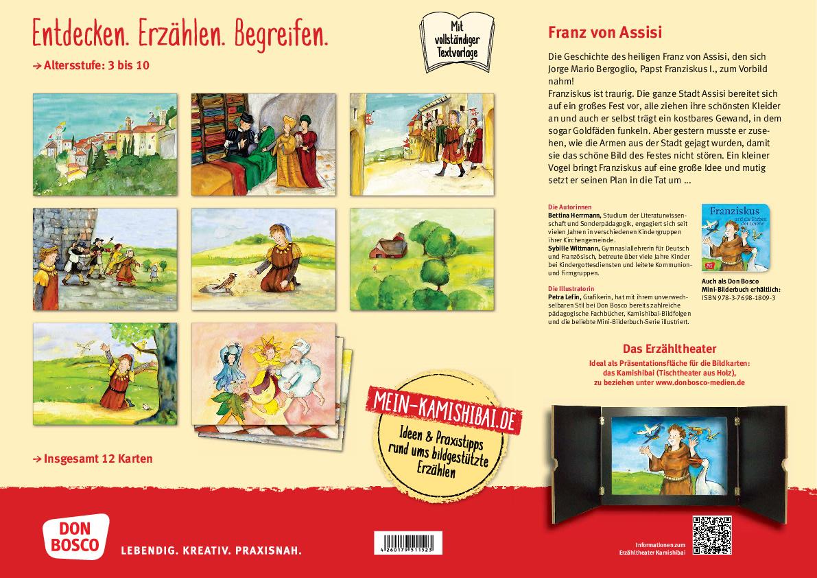 Innenansicht zu Franz von Assisi - Die Geschichte des heiligen Franziskus. Kamishibai Bildkartenset.