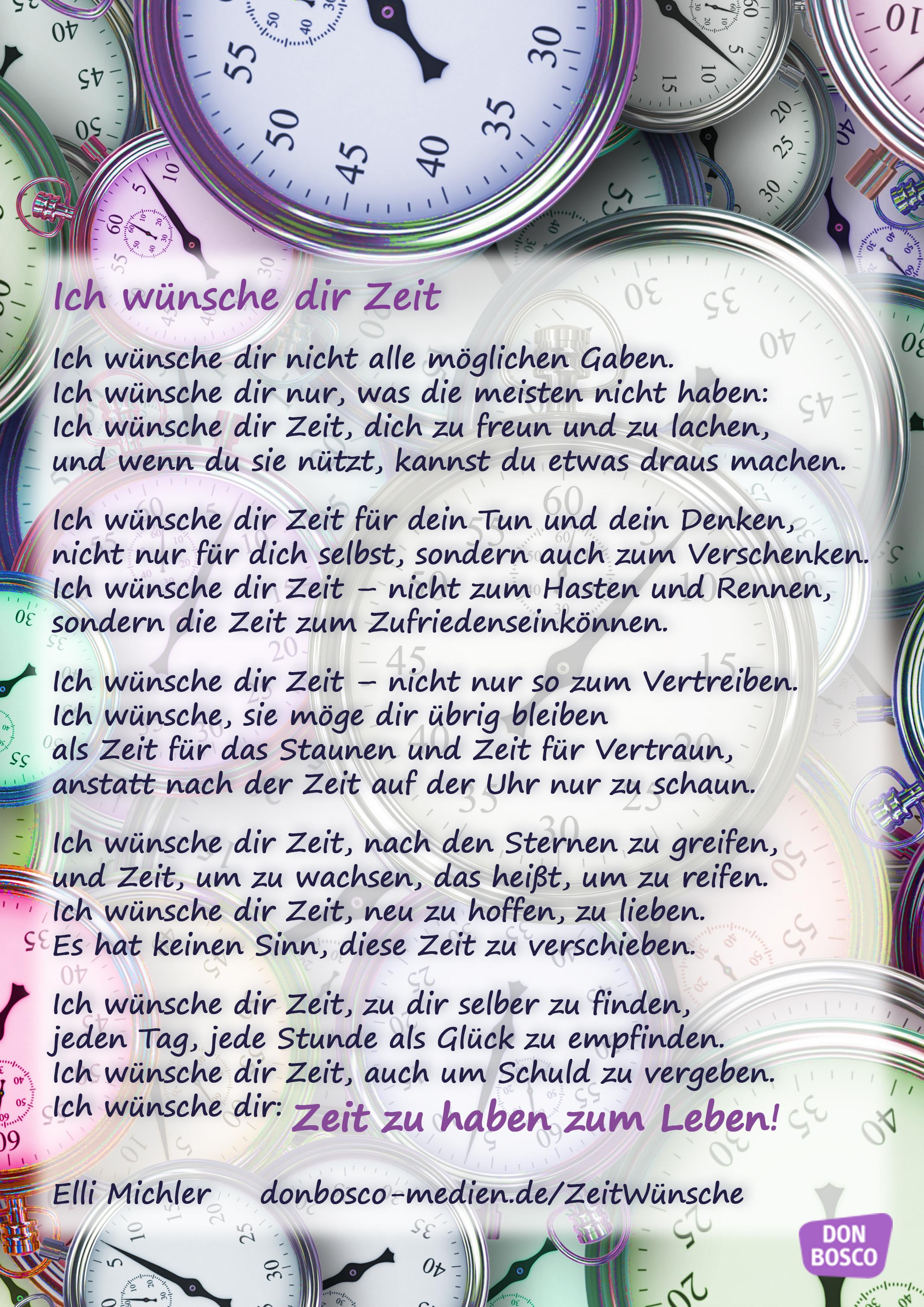 Ich Wünsche Dir Zeit Gedicht Von Elli Michler