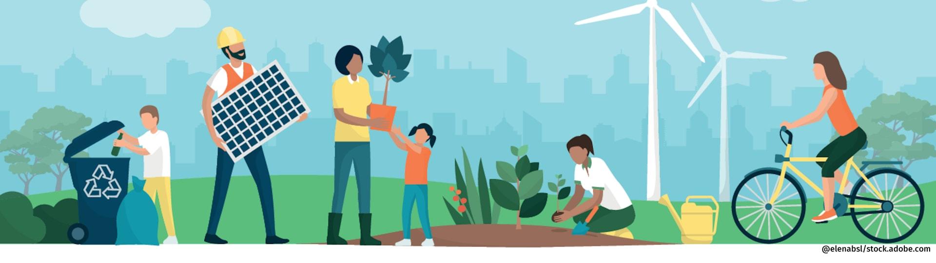 Darstellung nachhaltiger Lebensweisen wie Radfahren, Gärtnern und Mülltrennung