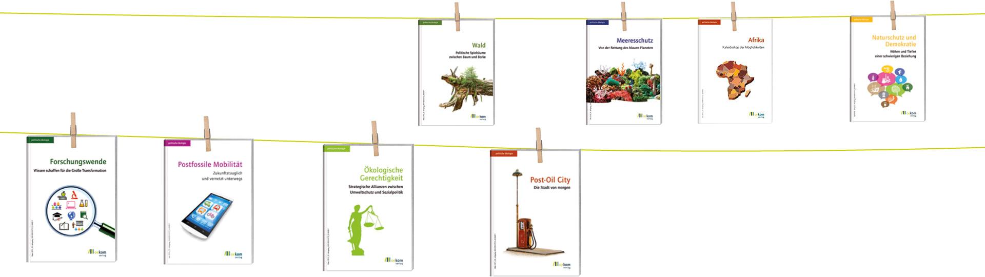 Cover von Ausgaben der Zeitschrift politische ökologie im Themenpaket