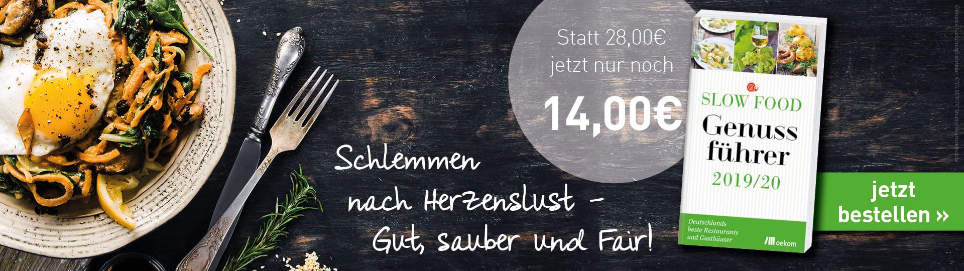 Werbebanner zum »Slow Food Genussführer 2019/20«