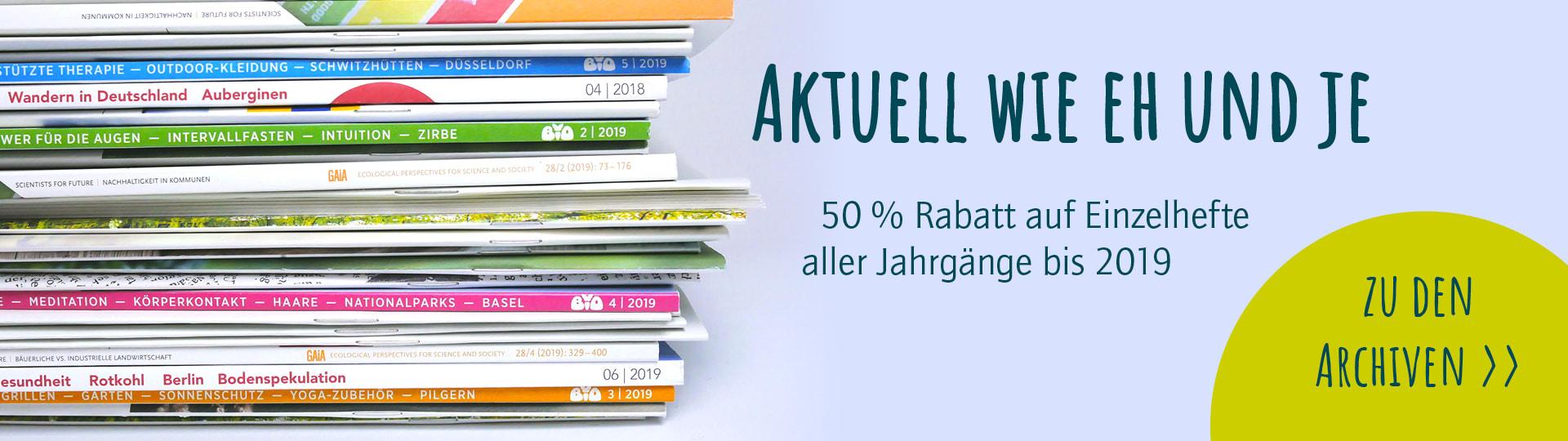Rabattaktion: 50 % auf alle Zeitschrifteneinzelhefte bis 2019
