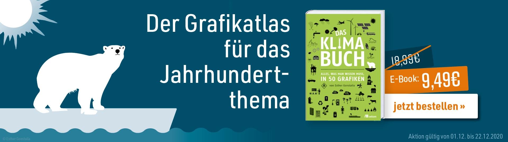 Werbebanner zu Esther Gonstallas Infografiken-Buch »Das Klimabuch« mit Hinweis auf vorübergehende Reduzierung des E-Book-Preises von 18,99 € auf 9,49 €